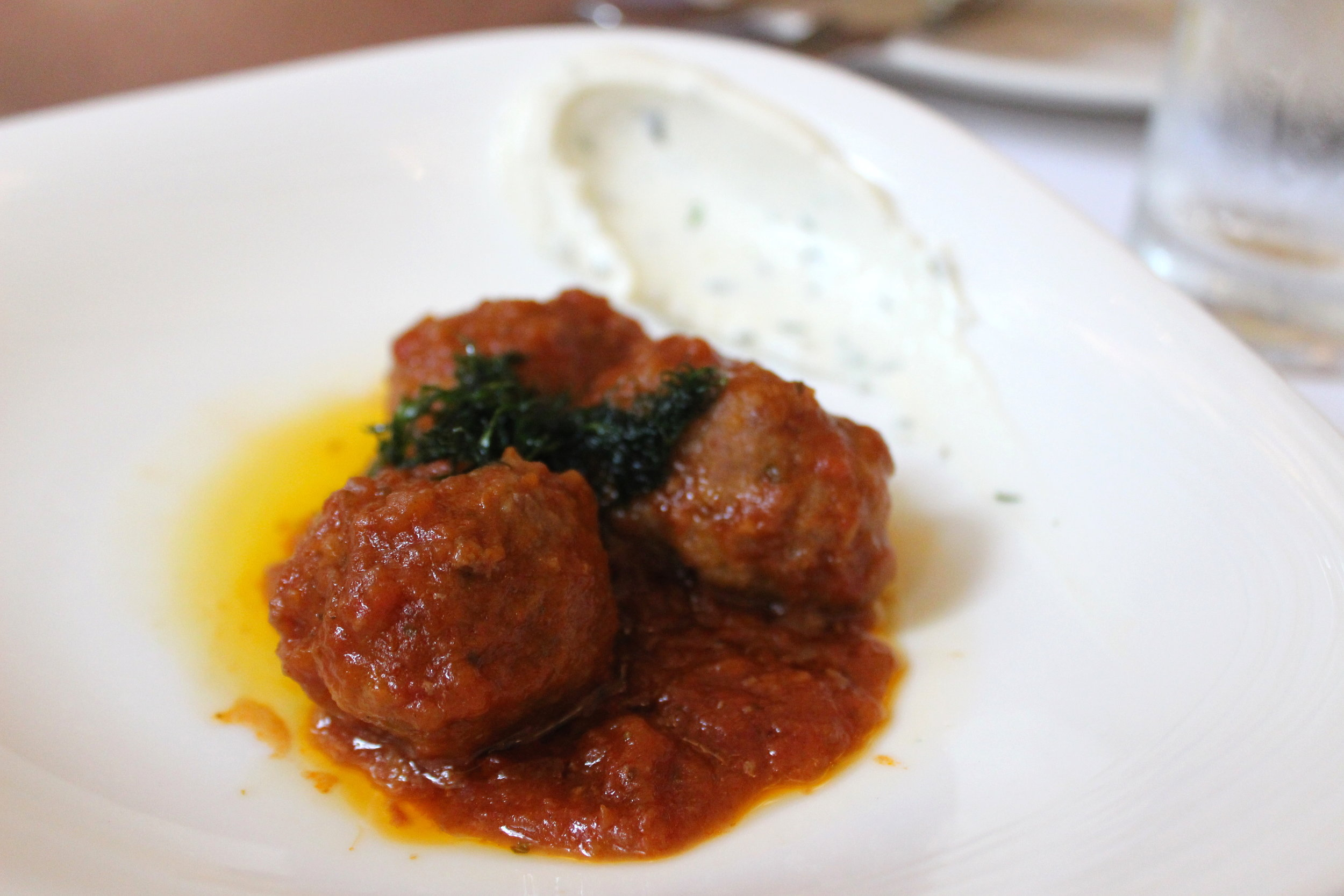 Short Rib Meat Balls, tomato sauce, whipped goat cheese