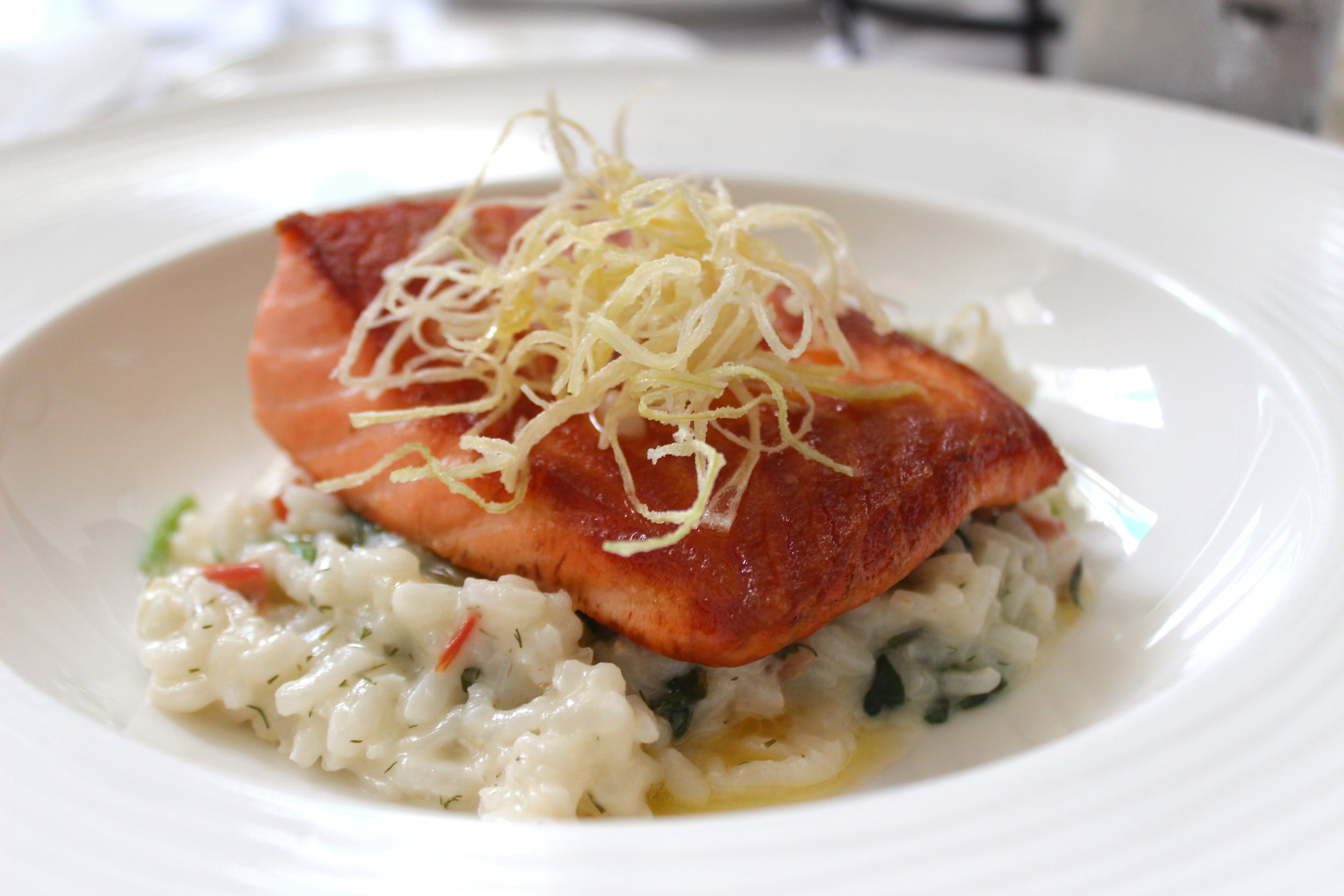 King Salmon, spinach rice, crispy leeks