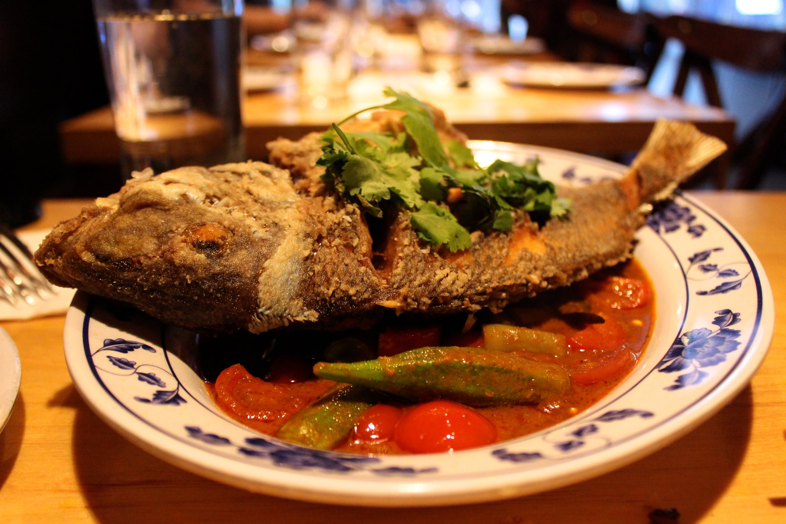 Whole Fried Porgy: Malaysian Curry, Okra, Eggplant, Tomatoes