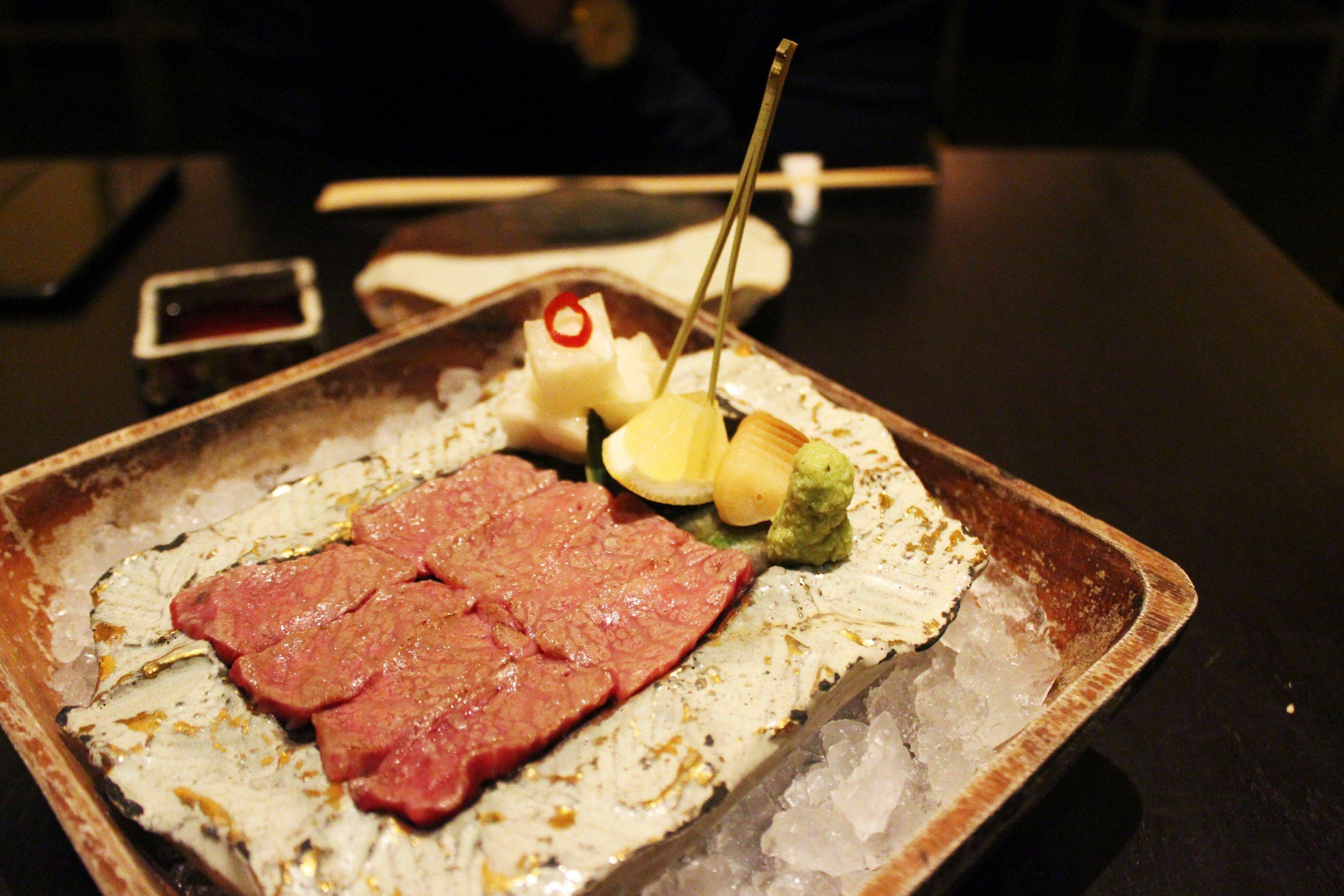 Washu-Beef Short Rib Sashimi with Sweet Daikon-pickle and Soy Sauce Garlic at Bohemian Restaurant