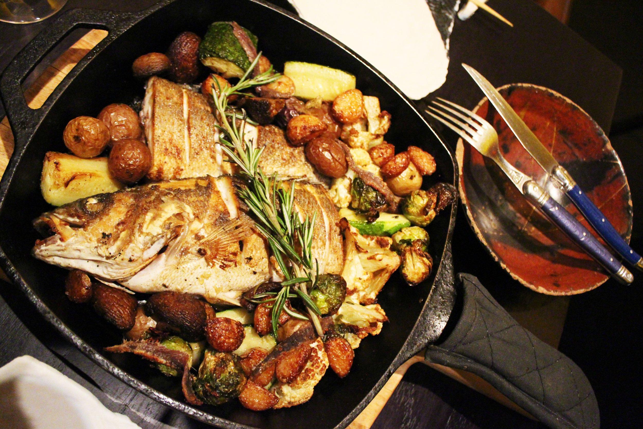 Pan Roasted Branzino with farmer's seasonal vegetables at Bohemian Restaurant