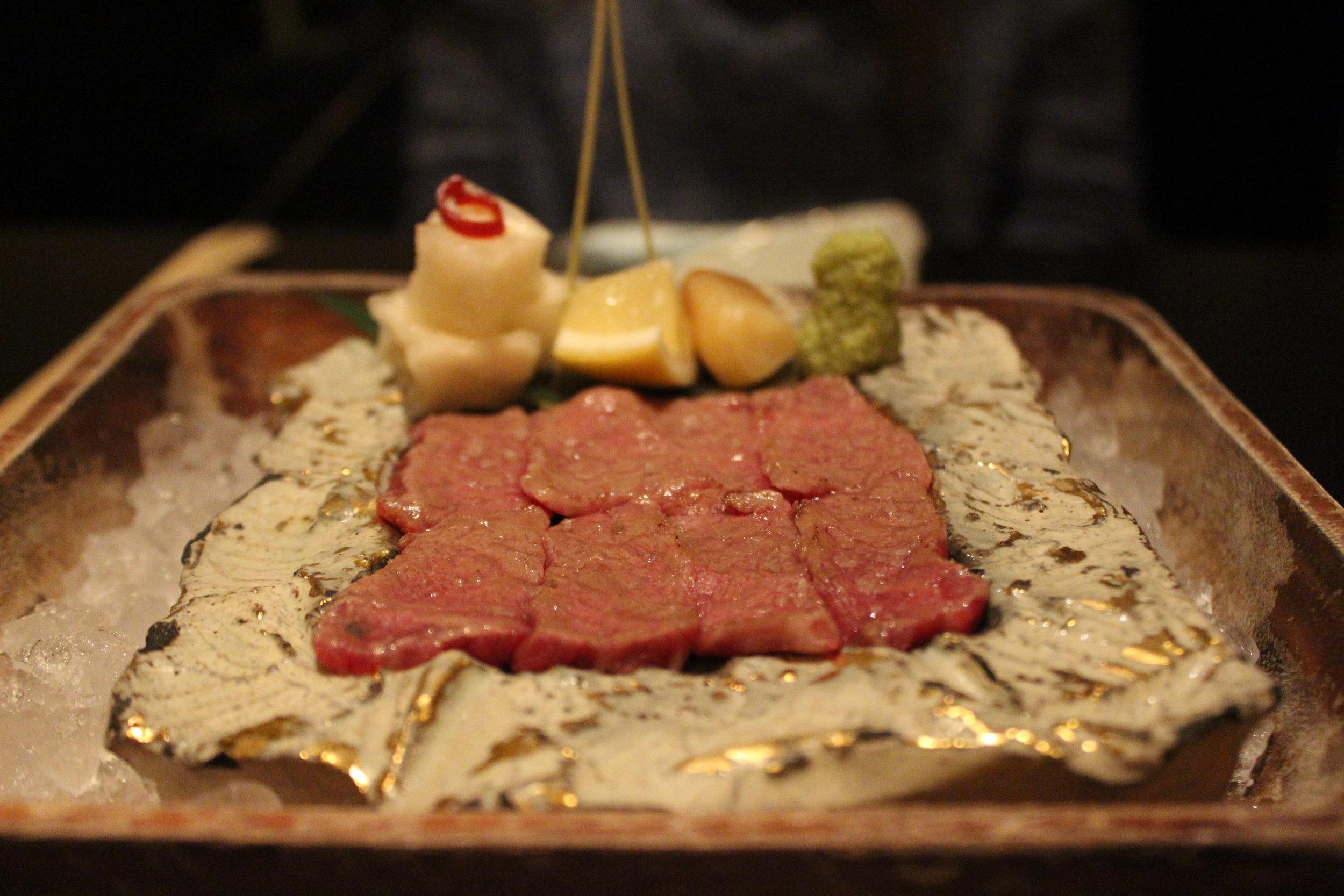 Washu-Beef Short Rib Sashimi with Sweet Daikon-pickle and Soy Sauce Garlic