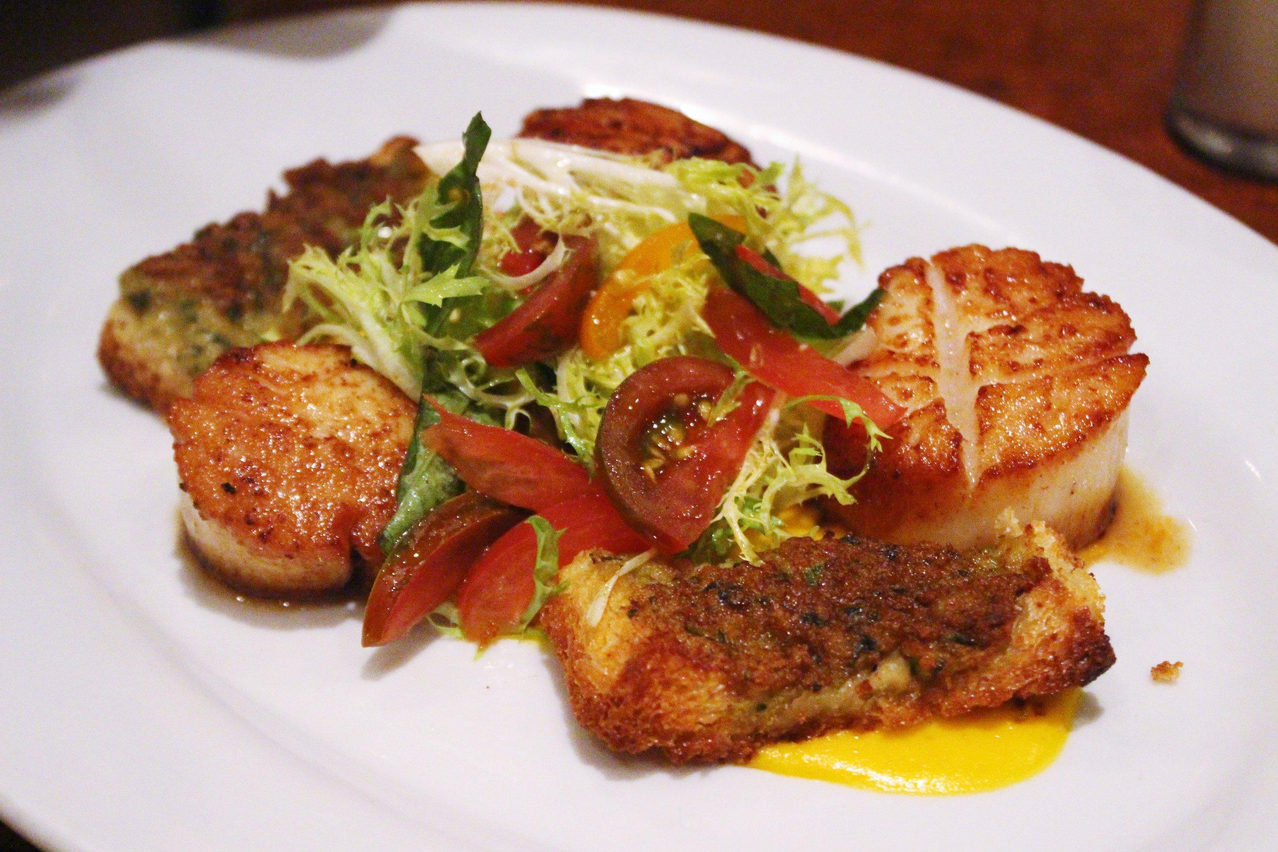 Seared Diver Scallops with Shrimp Toast, Tomato Fondue, and Basil Salad