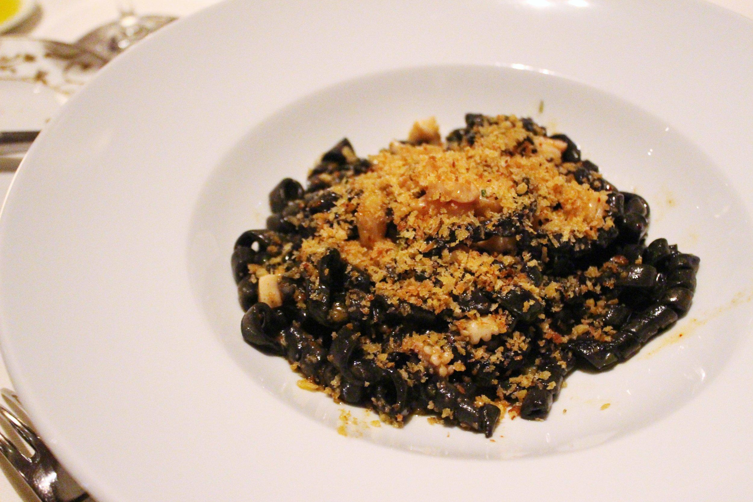 Trofie Nero: ligurian crustacean ragu, seppia, scallops, spiced mollica