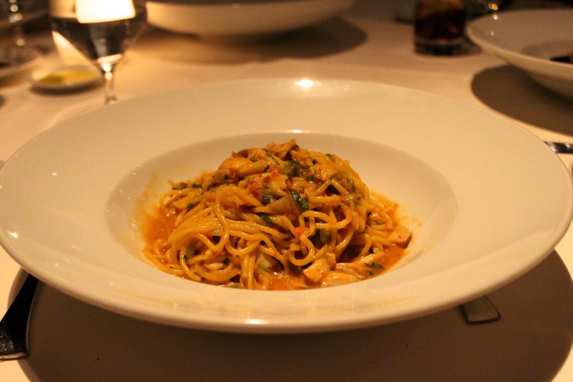 Spaghetti: blue crab, lemon, bottarga, chilies