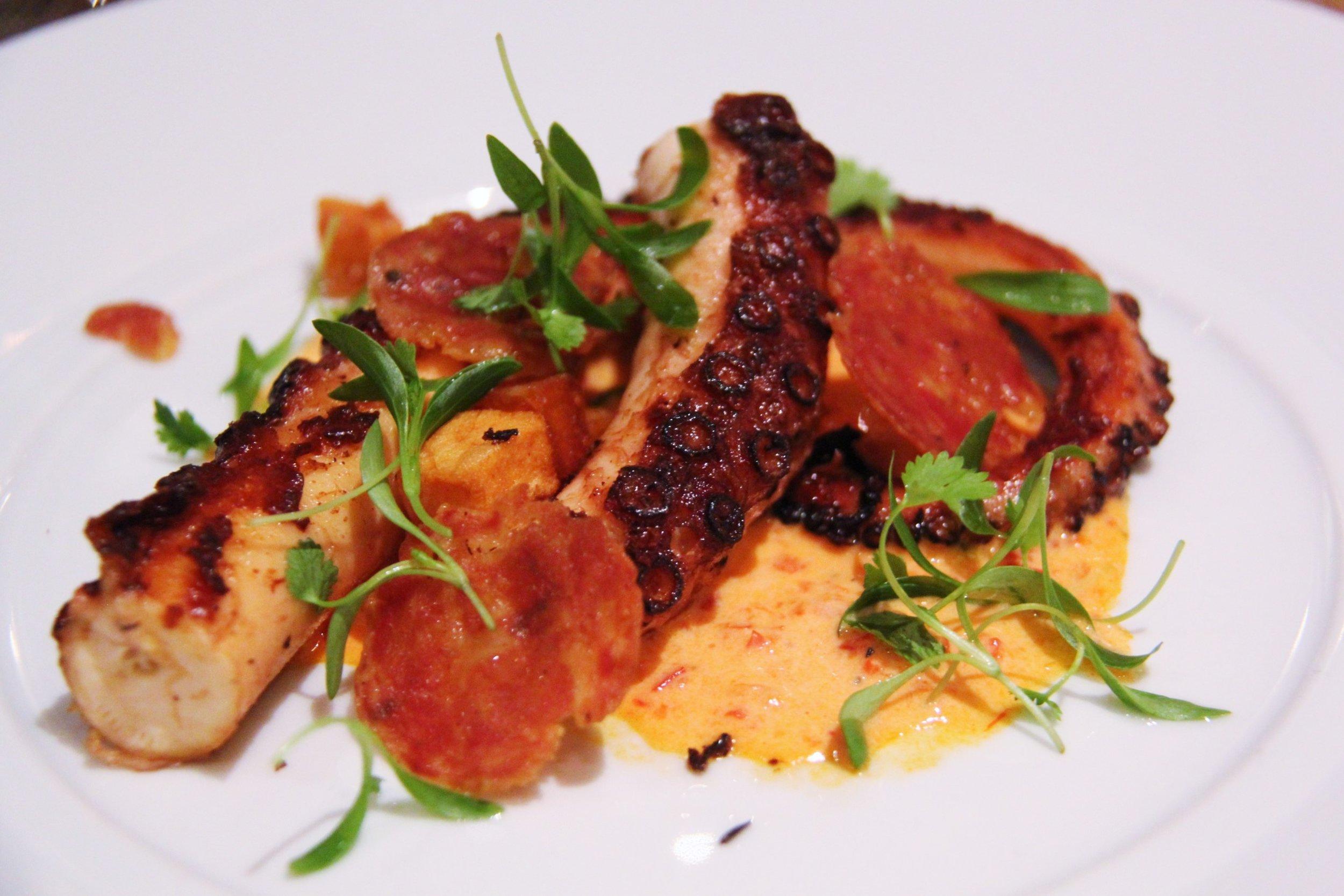 Octopus, Harissa, Crispy Potatoes, Soppressata