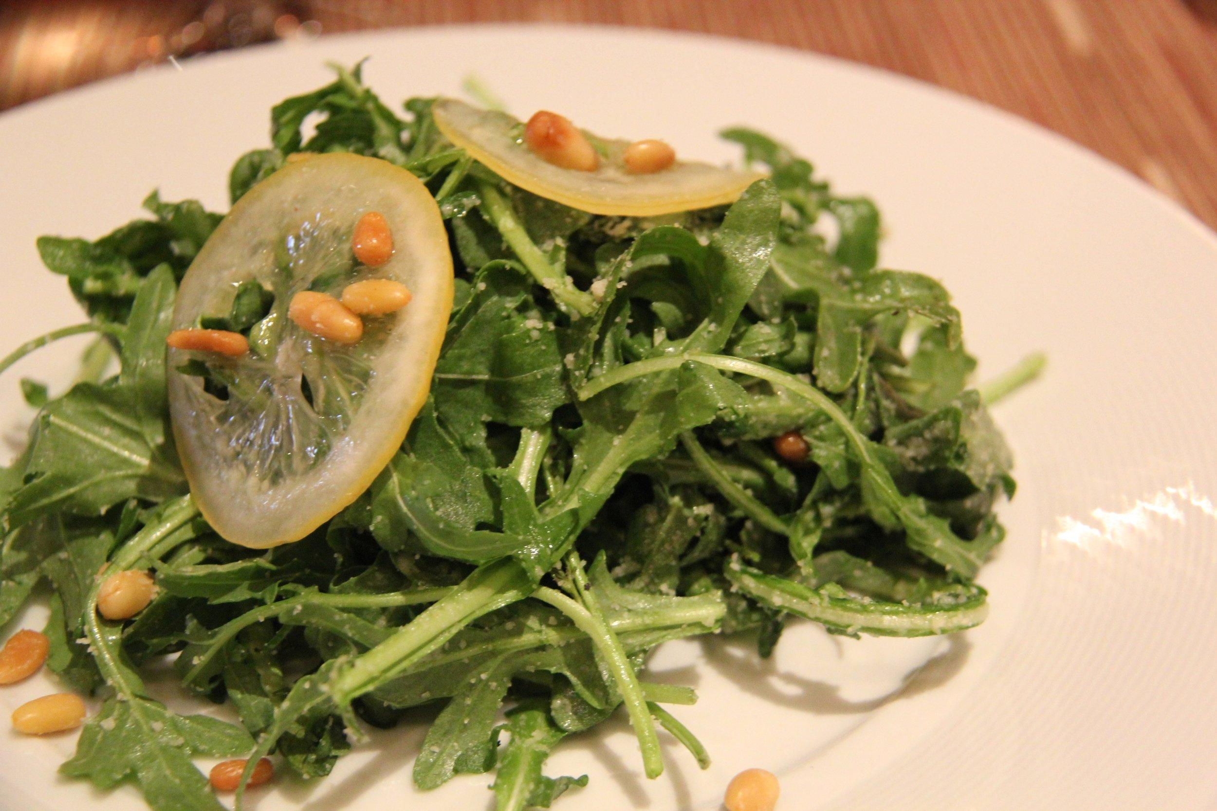Wild Arugula, Parmesan, Preserved Lemon, Pine Nuts