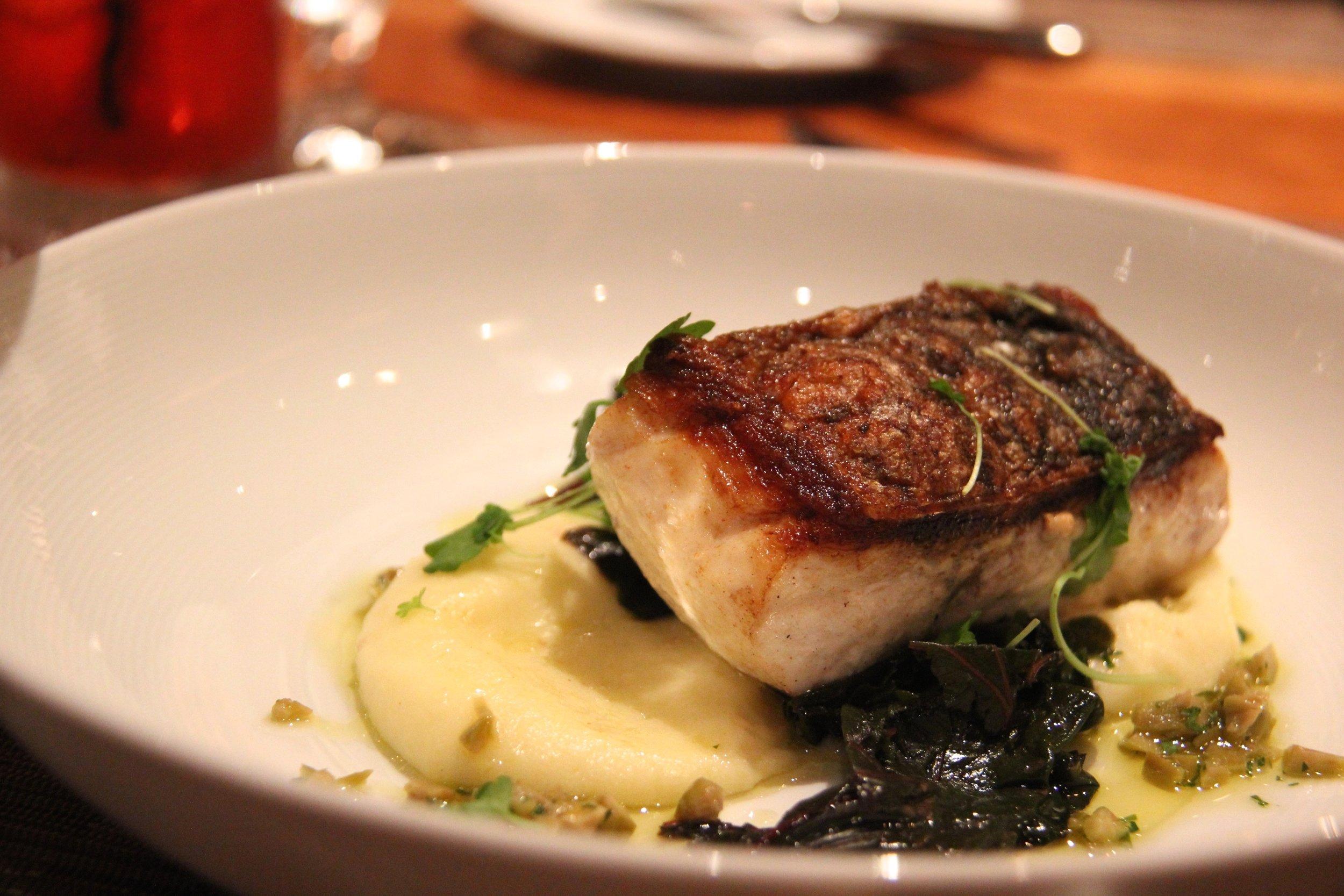 Seasonal Bass, Potato Puree, Niçoise Olive