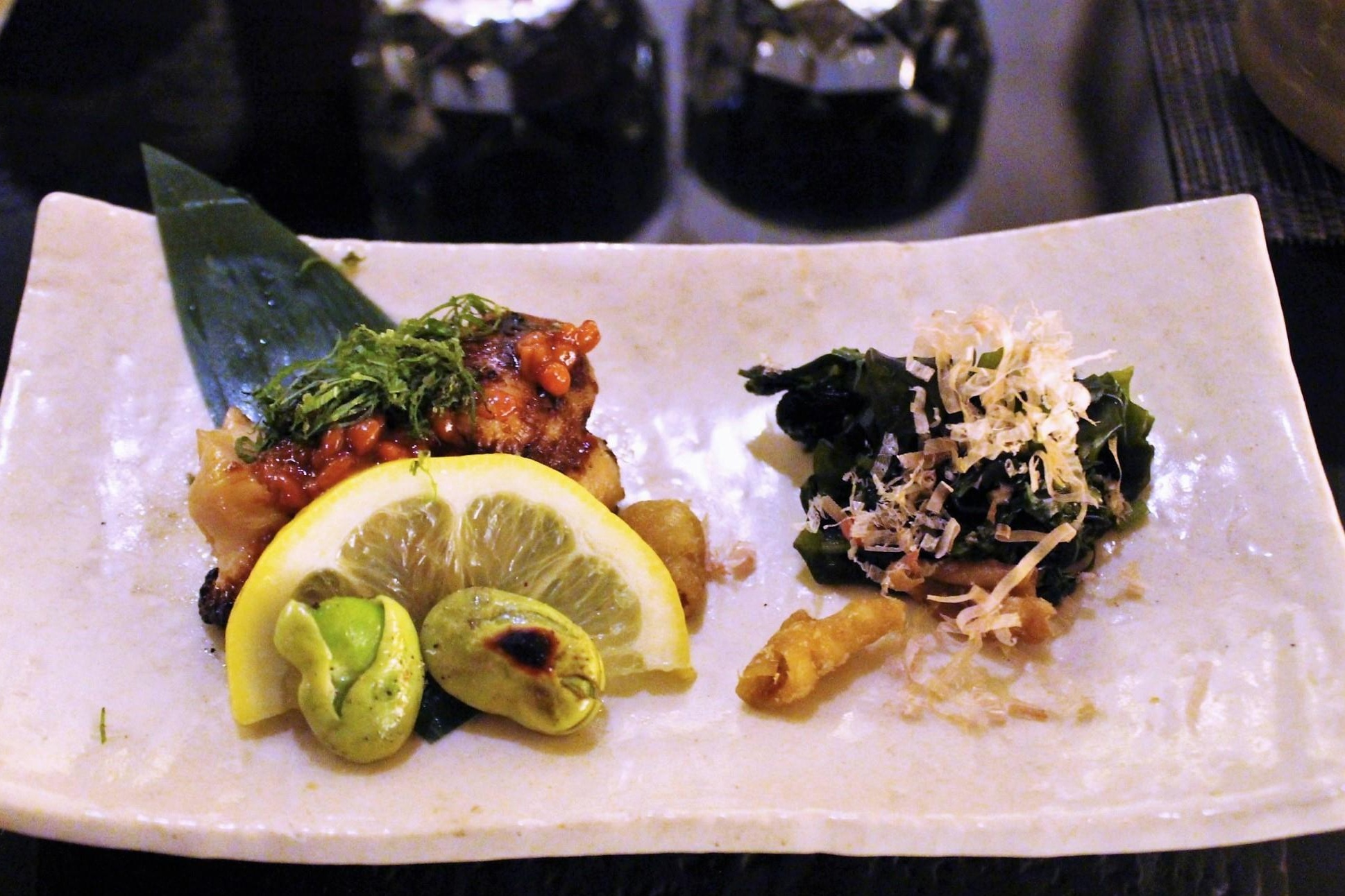 Chicken Thigh with Moromiso and Shiso Leaf; Seaweed, Bonito Flakes, Chicken Skin, and Shungiku Leaf