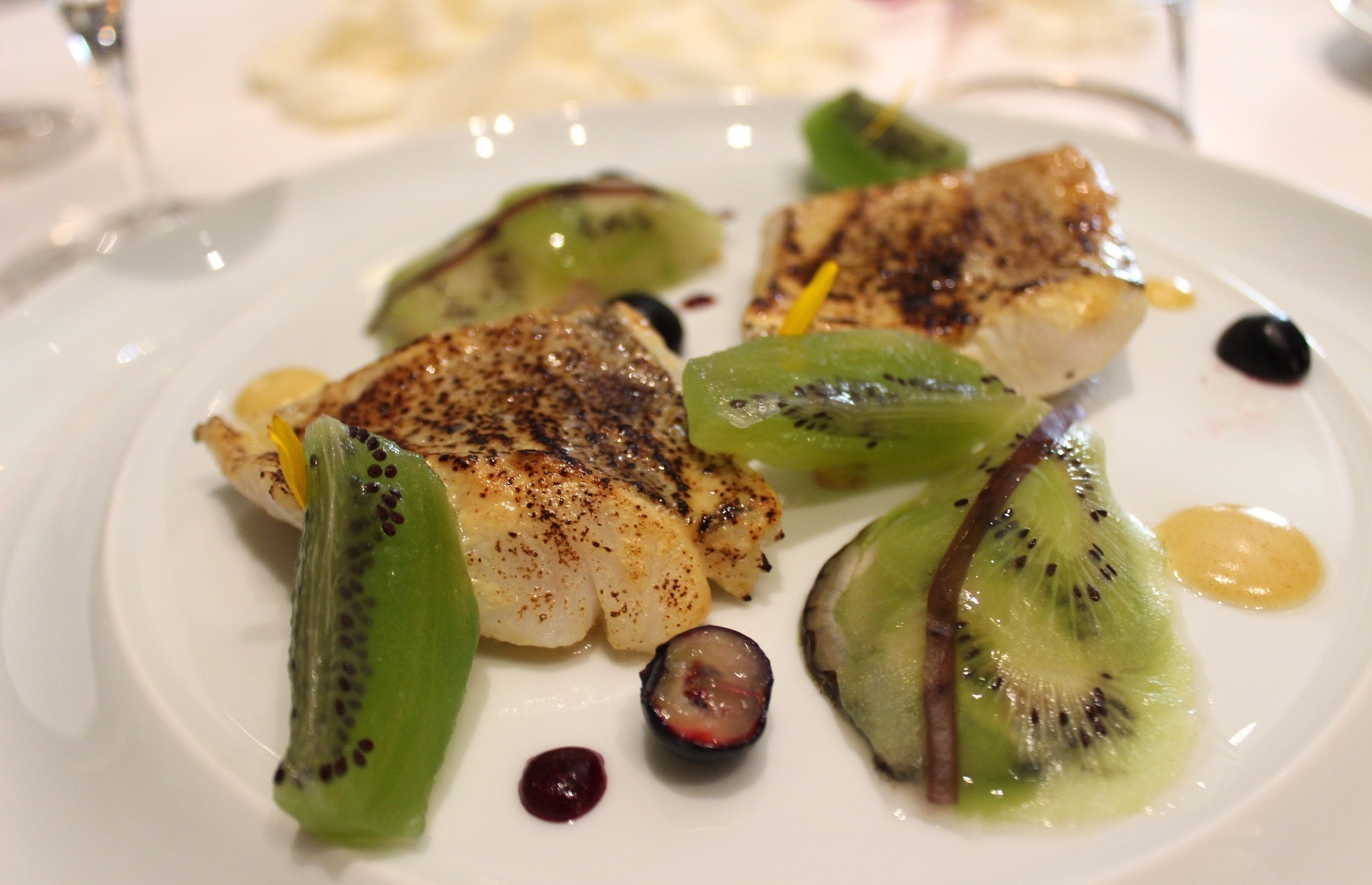 Fillet of Wild Whiting, Roasted with Mustard and Sea-Scented Kiwi