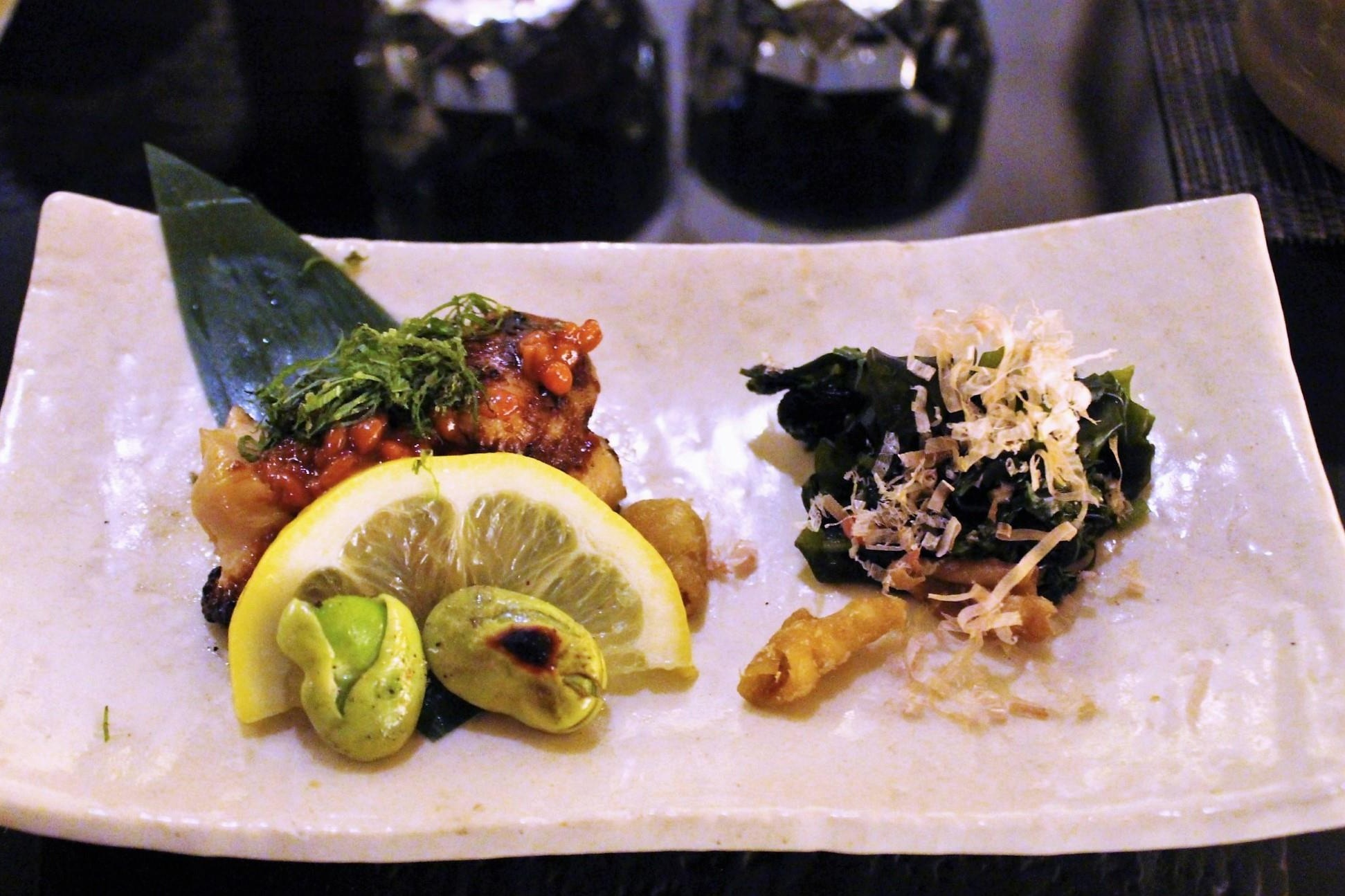 Chicken Thigh with Moromiso and Shiso Leaf; Seaweed, Bonito Flakes, Chicken Skin, and Shungiku Leaf at Torishin