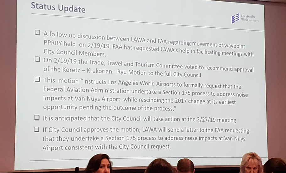 A status update was provided by LAWA's Board of Airport Commissioners (BOAC) public meeting on February 21, 2019.