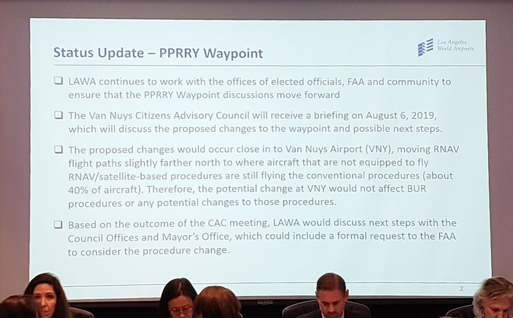 BOAC confirms during their August 1, 2019 meeting that any change to VNY waypoint will not affect any potential changes to BUR.