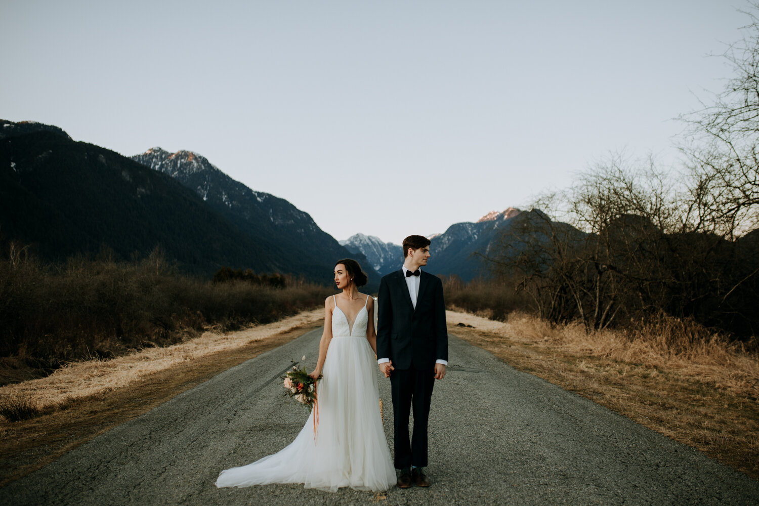 Pitt-lake-wedding-couple-mountians