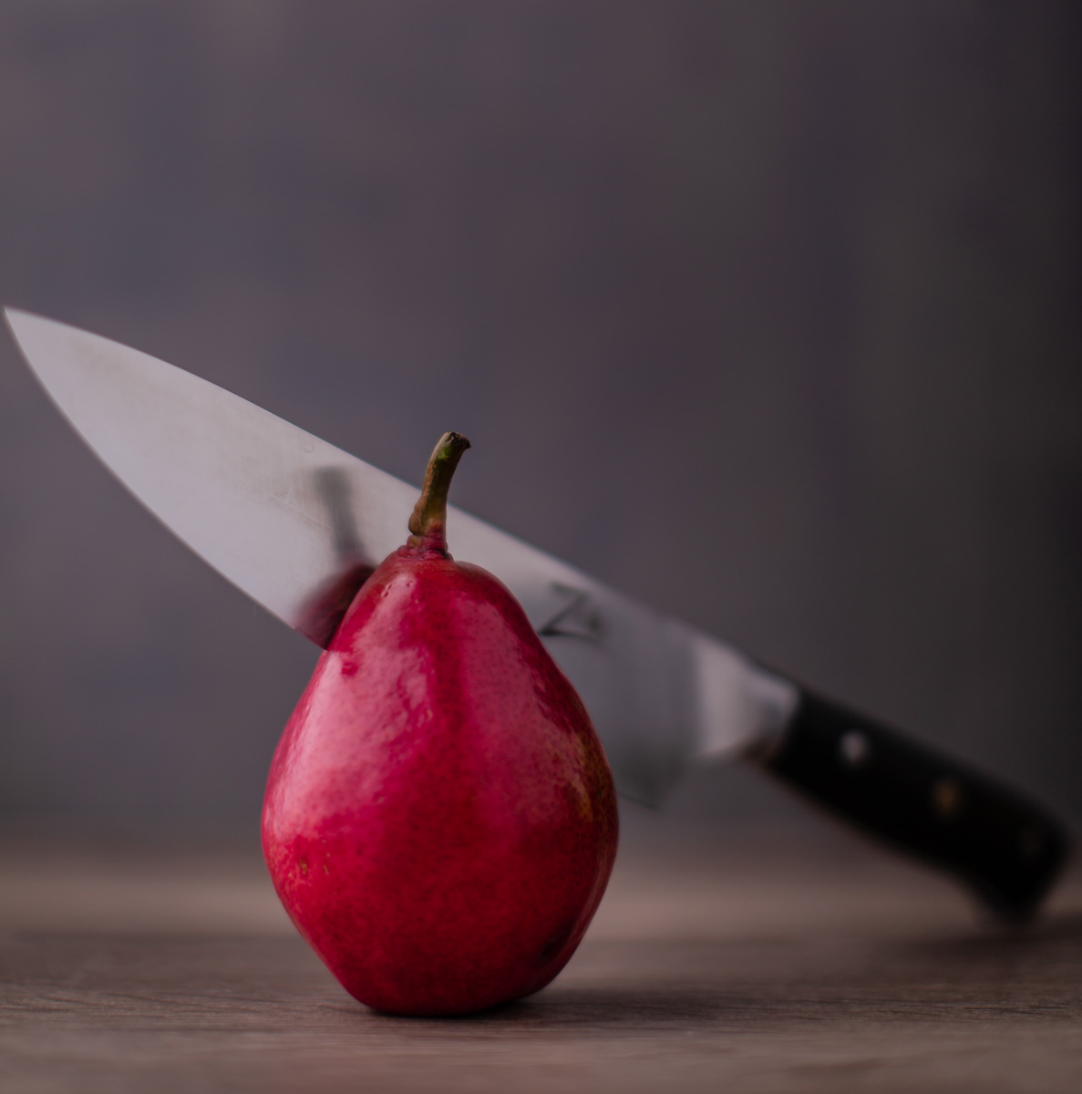 chef knife in pear