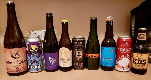The new podcast is up. We managed to make it through (almost) all of these crazy beers @jbaudin22 @mindtrip32 @connerlacks @foundersbrewing @newrealmbrewing #podcast #craftbeer #russianriverbrewing #dogfishhead120 #henok #KBS