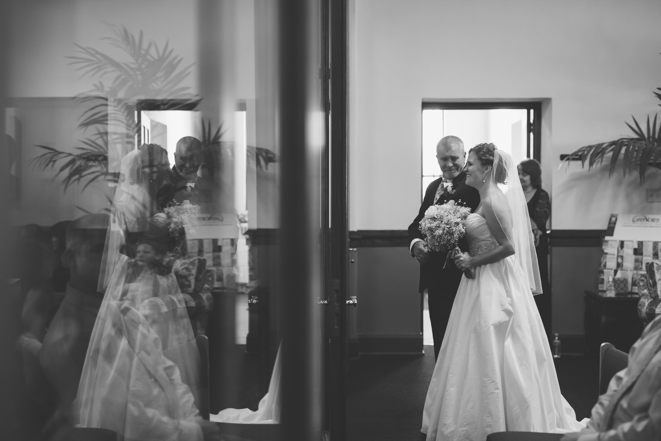 Father of the bride, back of church, springfield iL wedding