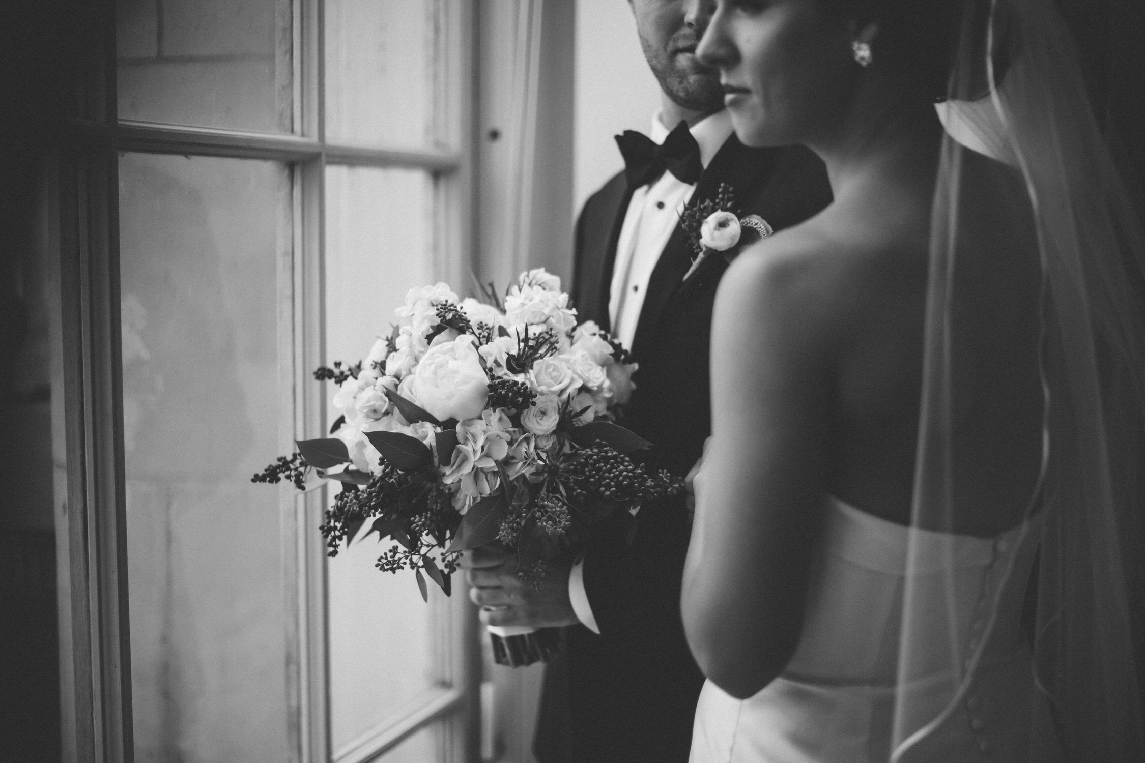 timeless and classic black and white, wedding photograph