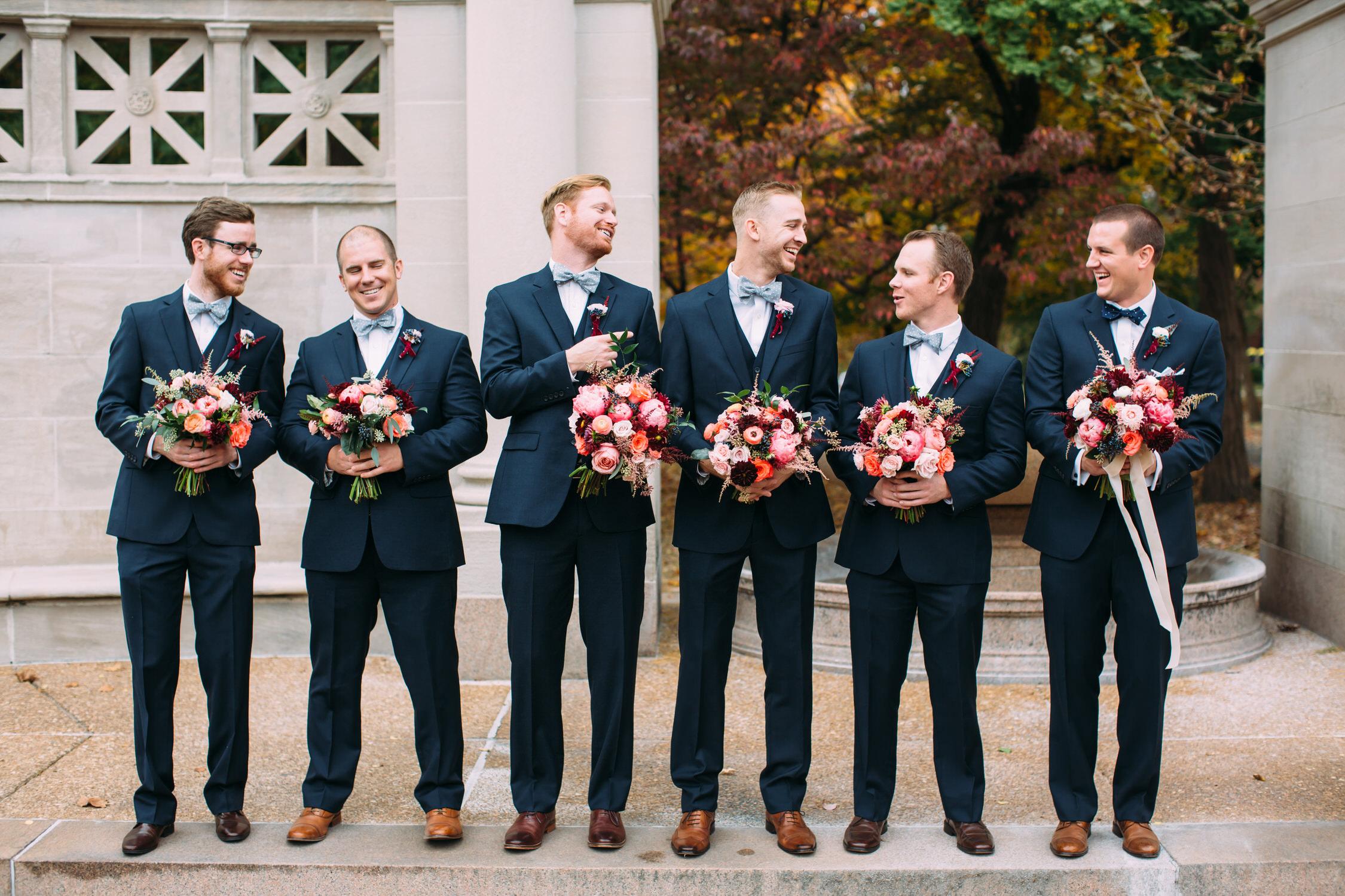 Groomsmen with Bouquets, St Louis Wedding