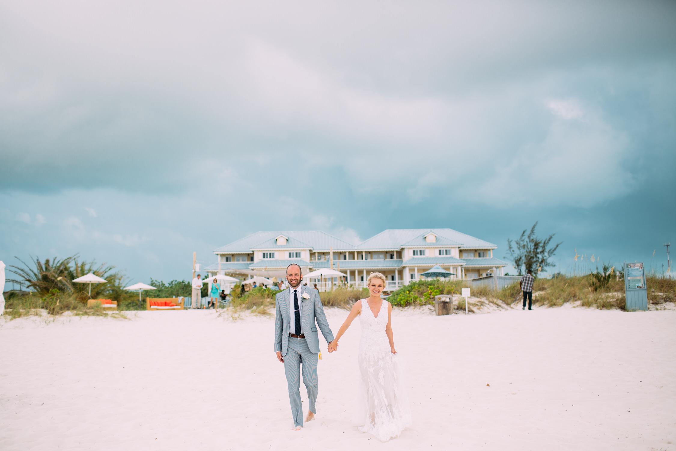Turks and Caicos wedding, Bride and groom on the beach,