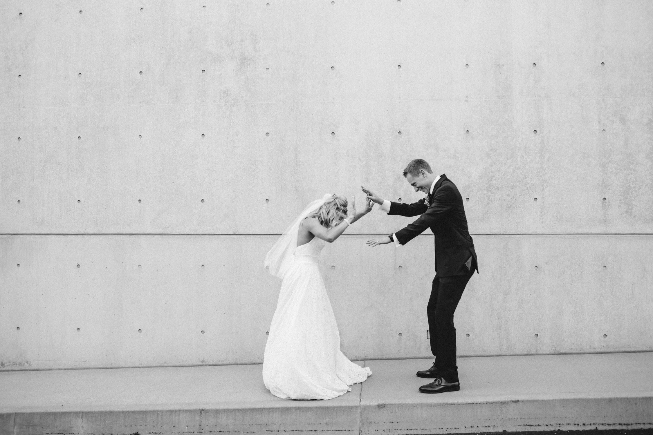 Dancing bride and groom, modern st louis wedding