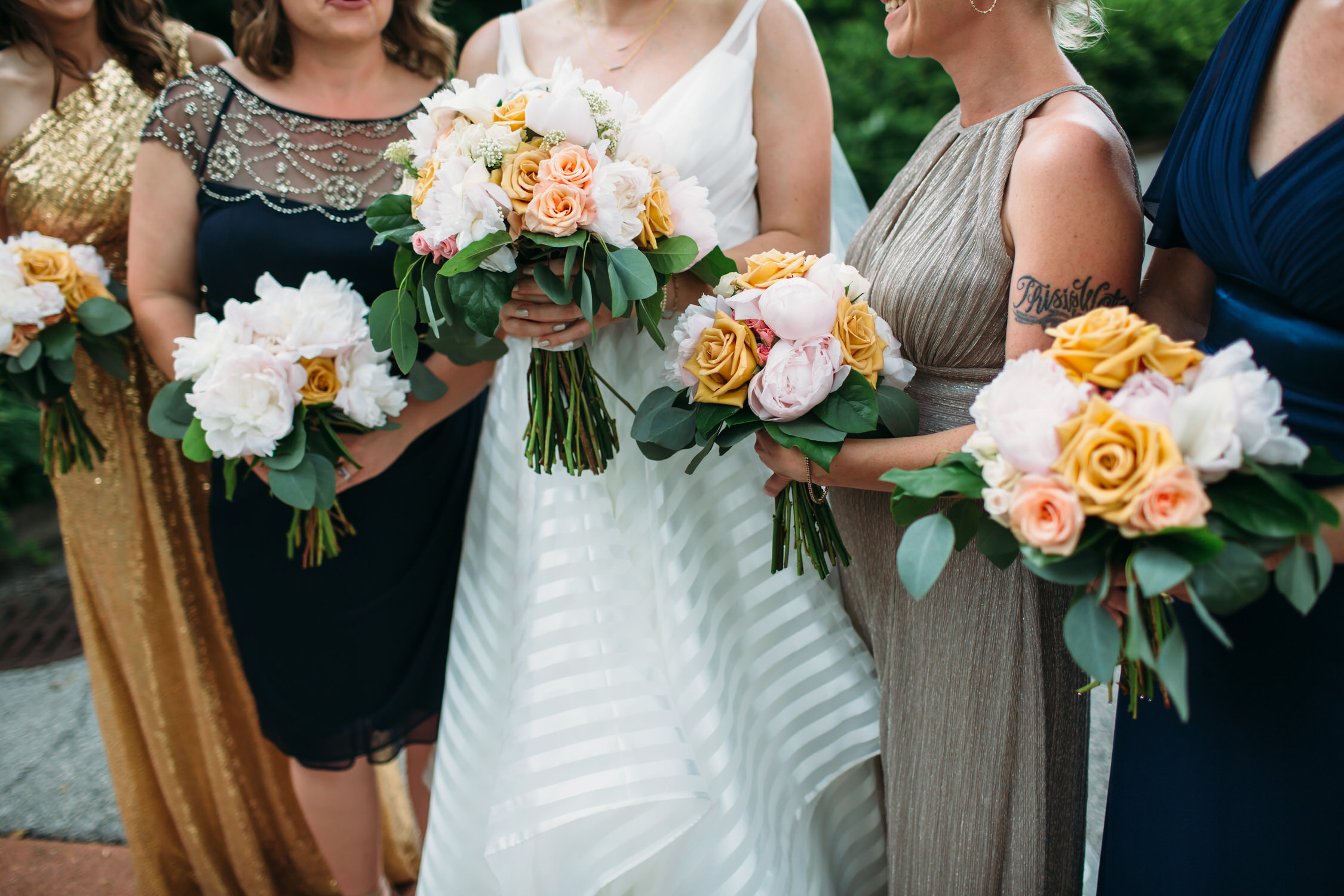 Bridesmaids and bouquets, wedding day details