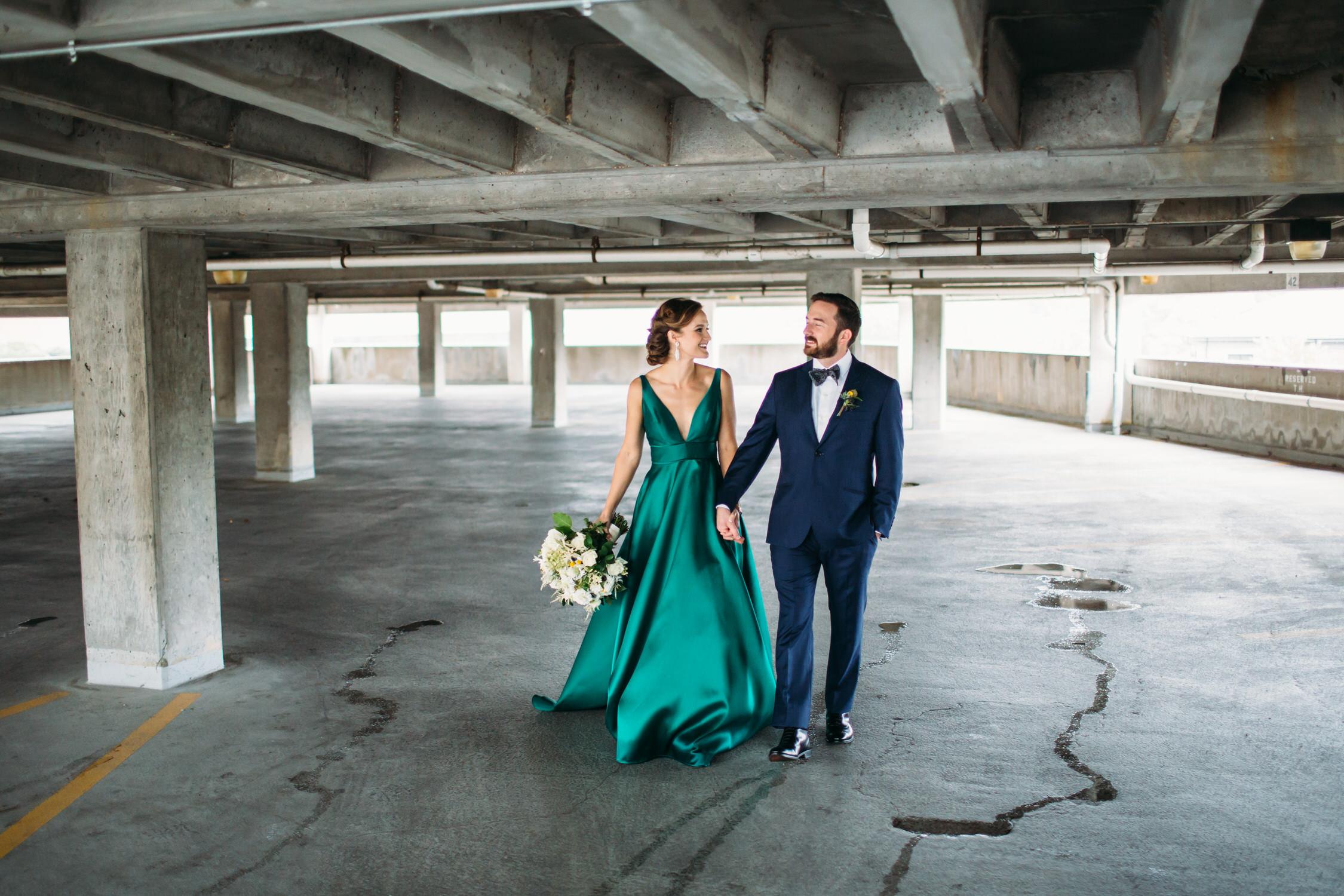 green wedding dress, st louis city wedding photographer