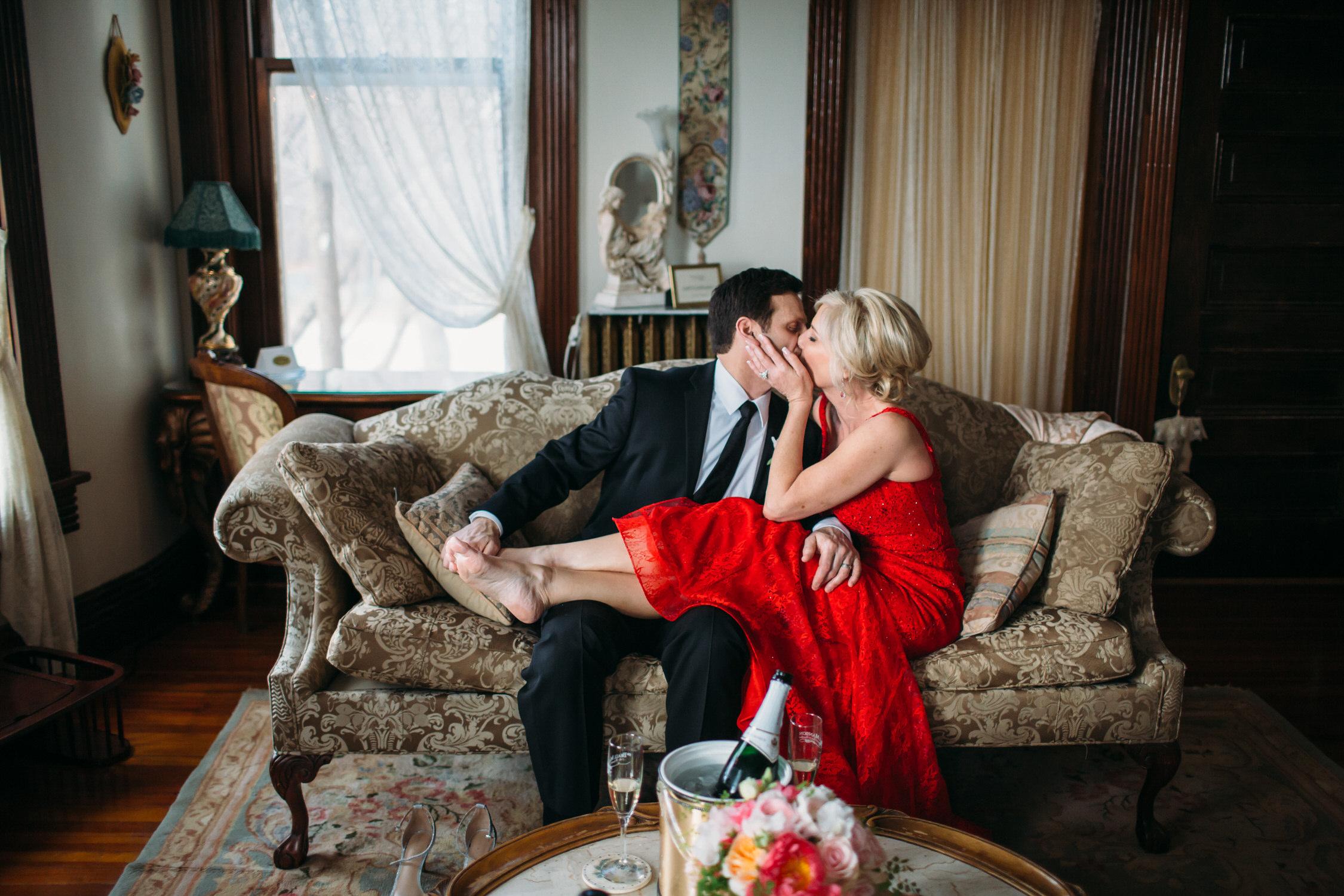 Romantic Elopement photographer, red wedding dress, St Louis Wedding Photographer