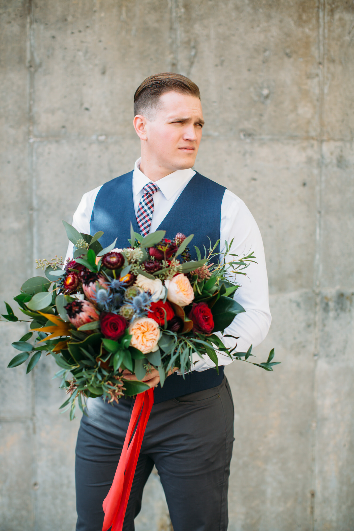 groom photo, wedding day, with bouquet Seattle wedding photographer