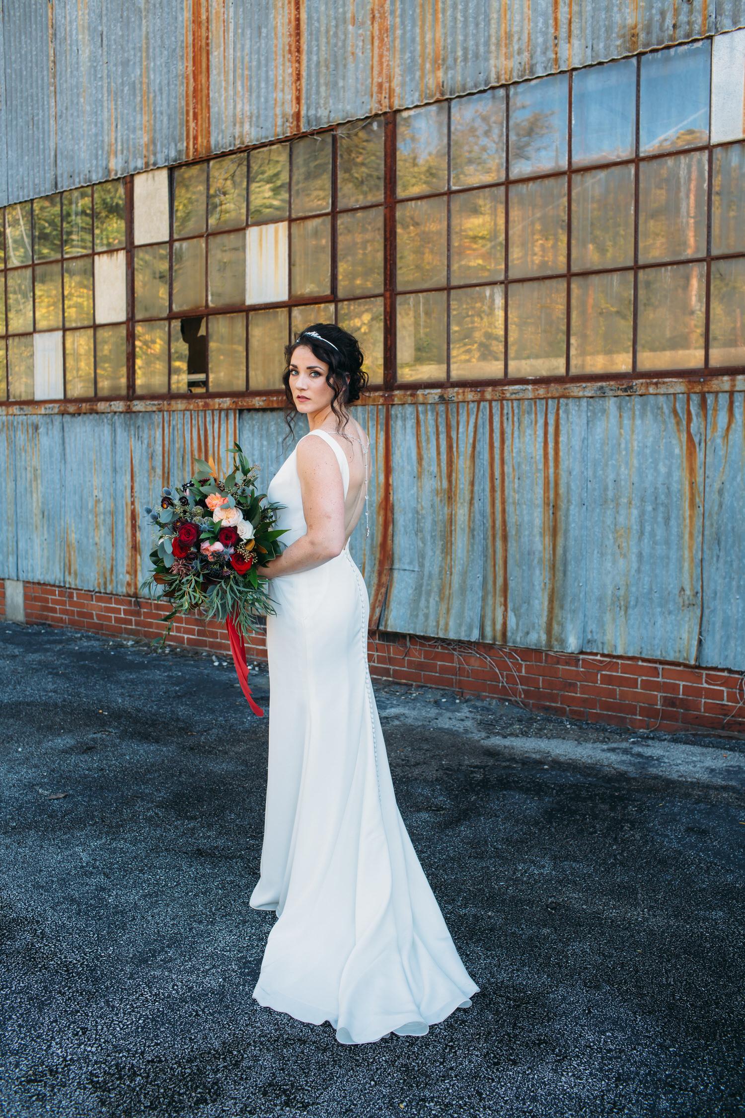 Bridal portraits of a fall bride, urban wedding, Seattle Wedding photographer