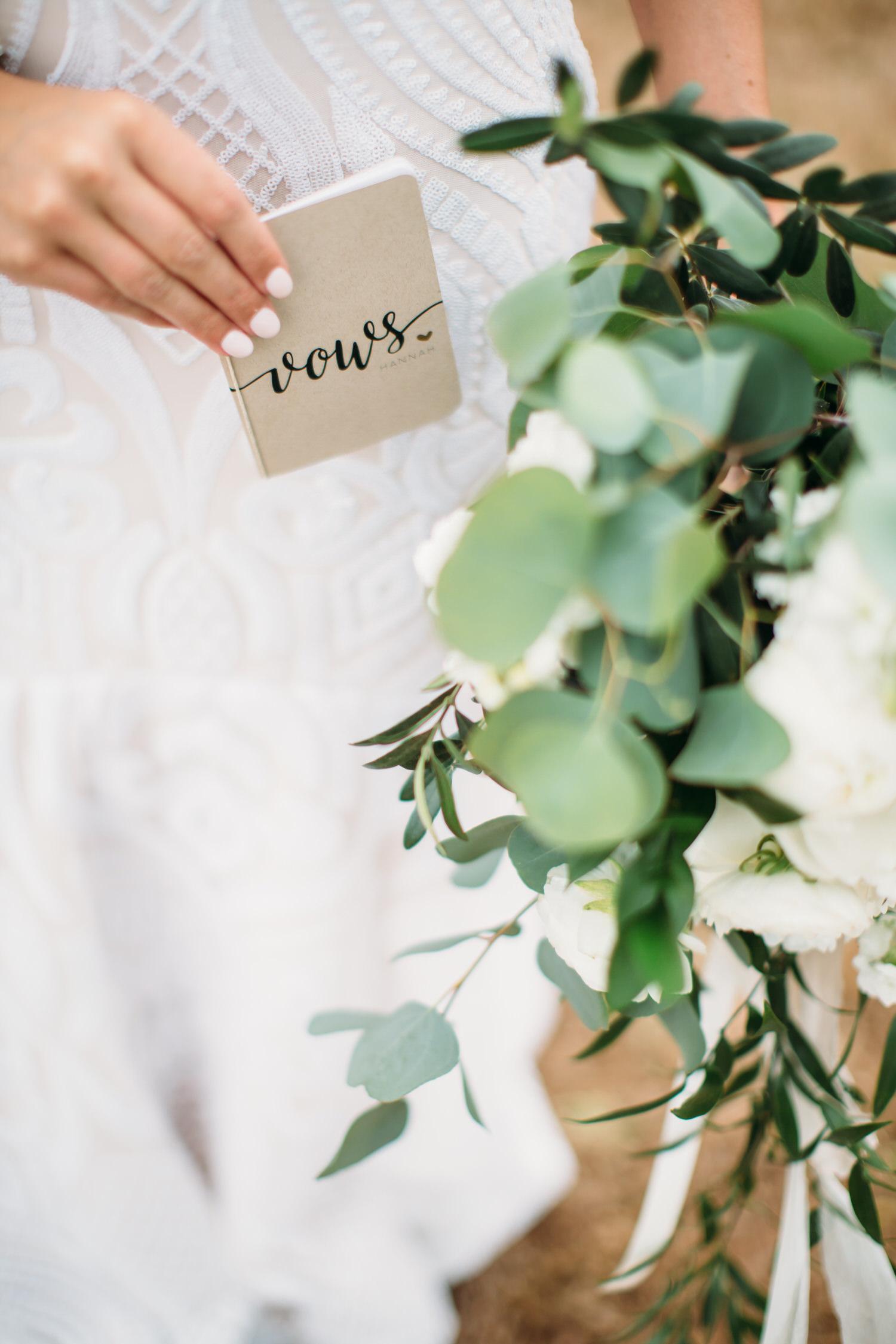 wedding vows and floral bouquet, Denver WEdding photographer