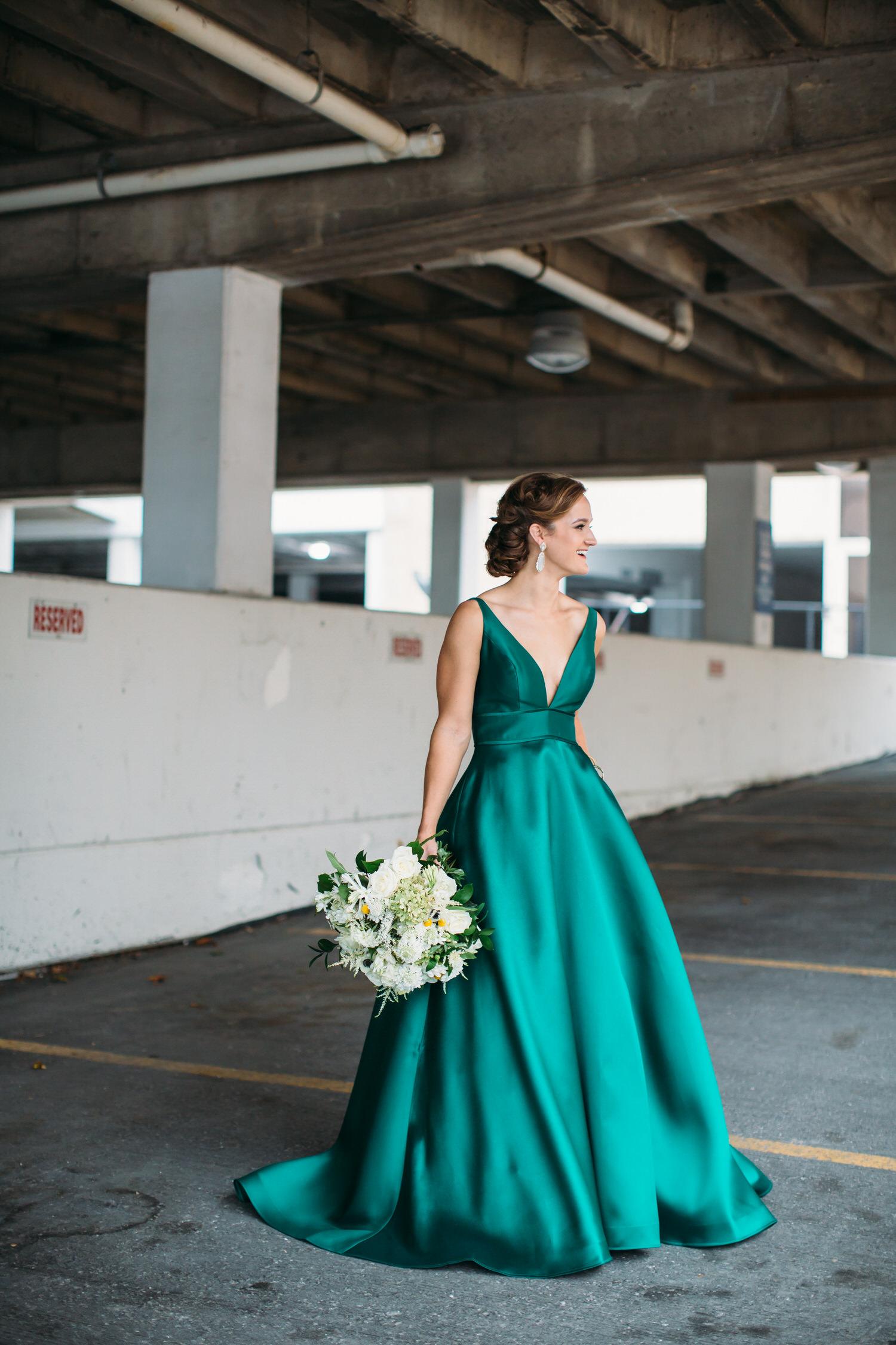 Green wedding dress. Seattle wedding photographer