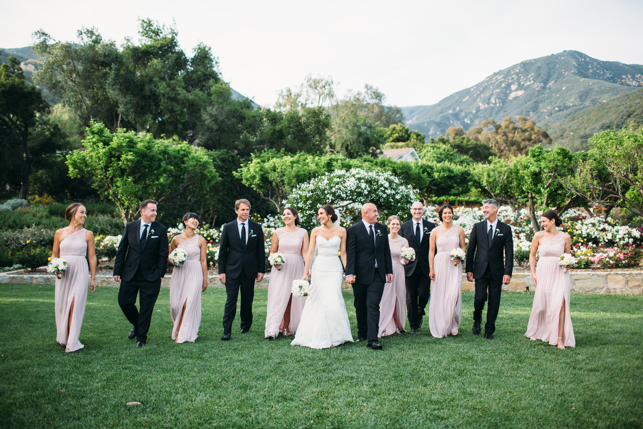 Wedding party photos, group photos at a wedding, relaxed wedding photos, Santa Barbara Wedding Photographer, California