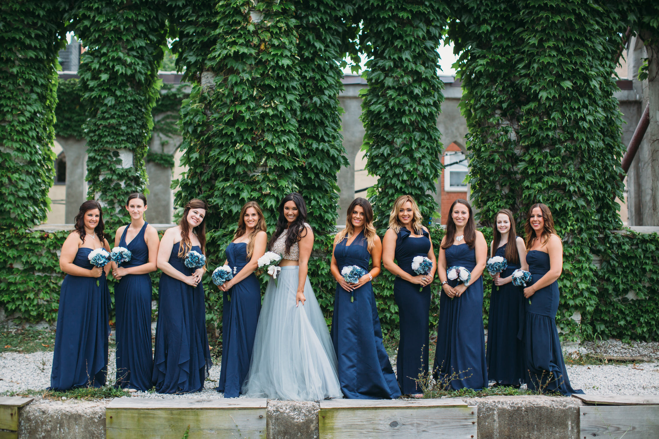 Wedding party photos, group photos at a wedding, relaxed wedding photos, St Louis Wedding Photographer, bride in blue wedding dress,
