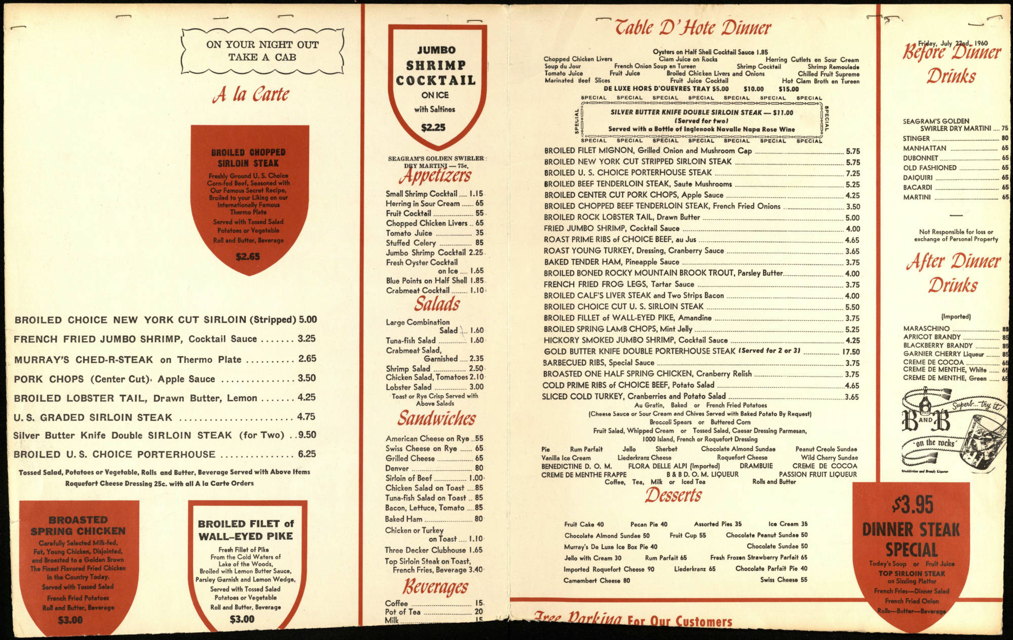 Murray's menu from 1960. Photo: Minneapolis History Collection, Hennepin County Library