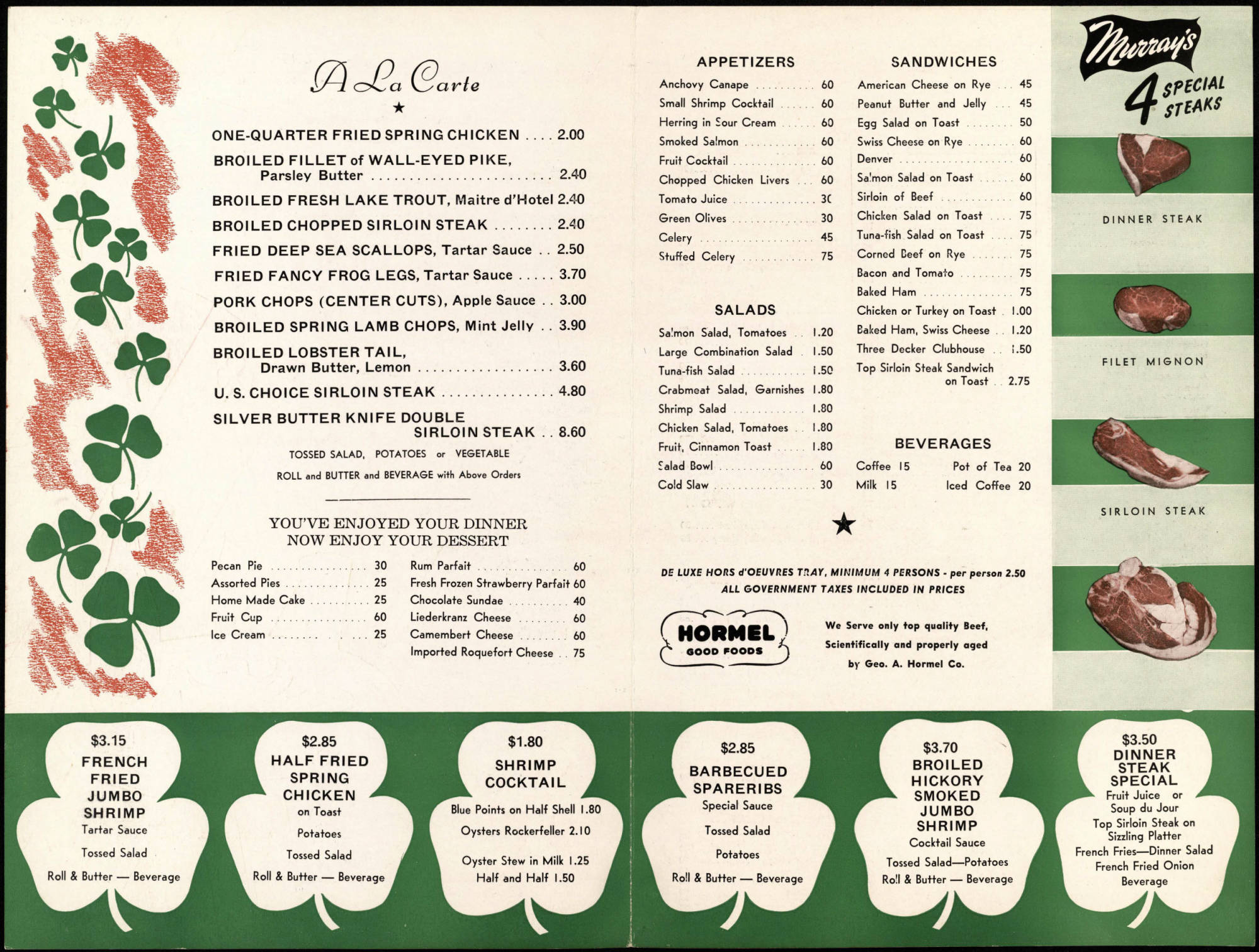 Murray's menu from 1952. Photo: Minneapolis History Collection, Hennepin County Library