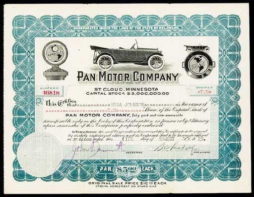 Pan Motor Car Stock Certificate