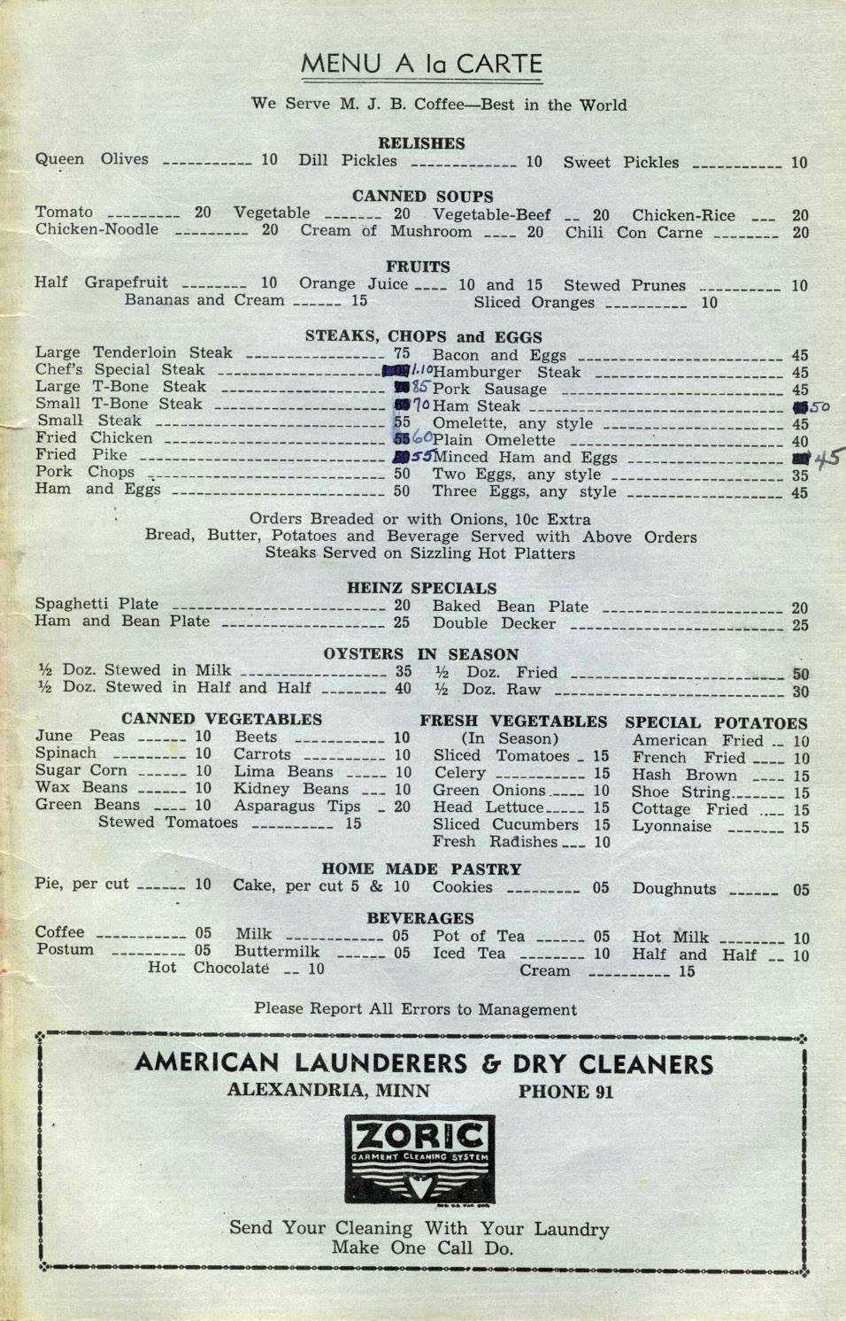 Cafe menu from 1947. Photo: Douglas County Historical Society