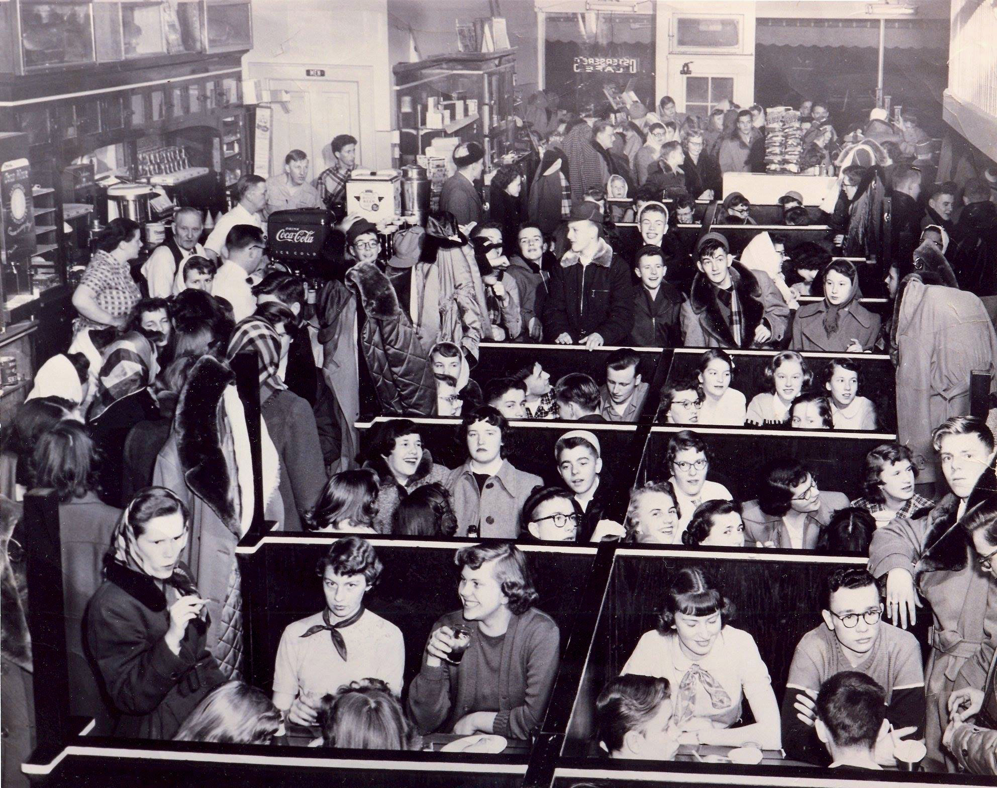 Interior of Osterberg's after a football game. Photo: Douglas County Historical Society