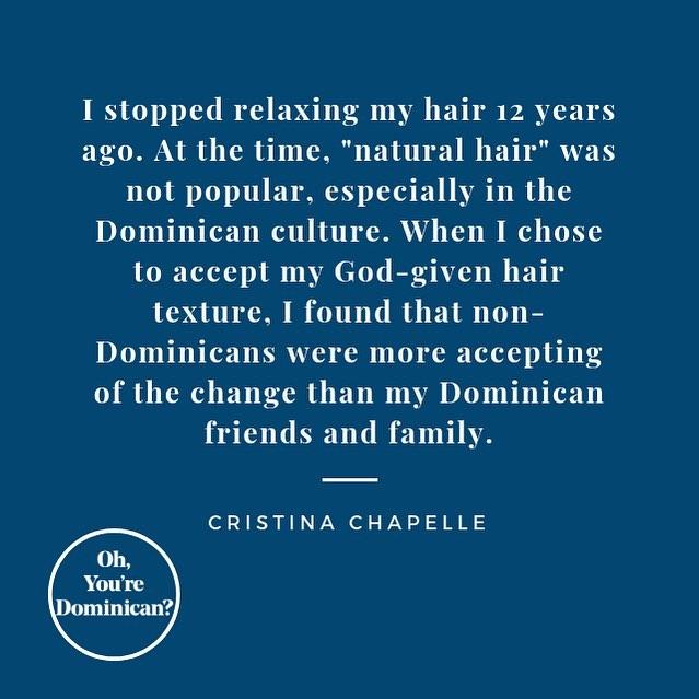 """Who can relate ? . . .————————————————————— """"Pare de alisarme el pelo hace 12 años. En ese entonces, tener el pelo 'natural' no era muy popular, especialmente en la cultura Dominicana. Cuando decidir aceptar mi textura de pelo como me lo hizo Dios, me di cuenta que personas que no eran Dominicanas aceptaban ese cambio mucho más que mis amigos y familiares Dominicanos"""" -Cristina Chapelle . .¿Quien ha tenido una experiencia similar? . . #ohyouredominican #photoseries #latinas #riszos #cotui #dominicano #dominicangirls #washingtonheights #bx #nyc #harlem #culture #photography #dominicana #delomio 📷: @rayneutron"""