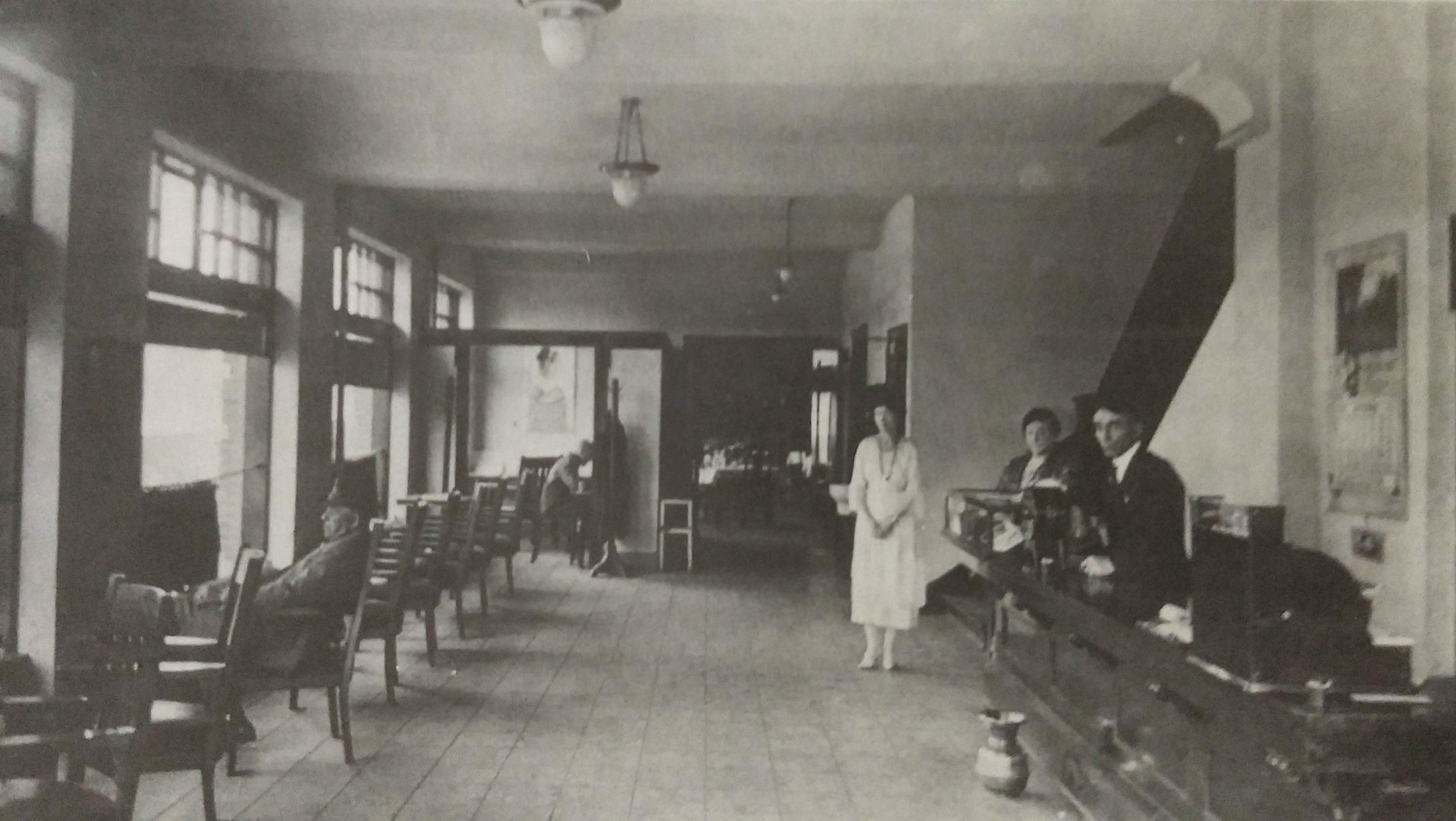 The Hotel Condon lobby circa 1920. The hotel was built in 1918 but most sources cite 1920 as the beginning of service.