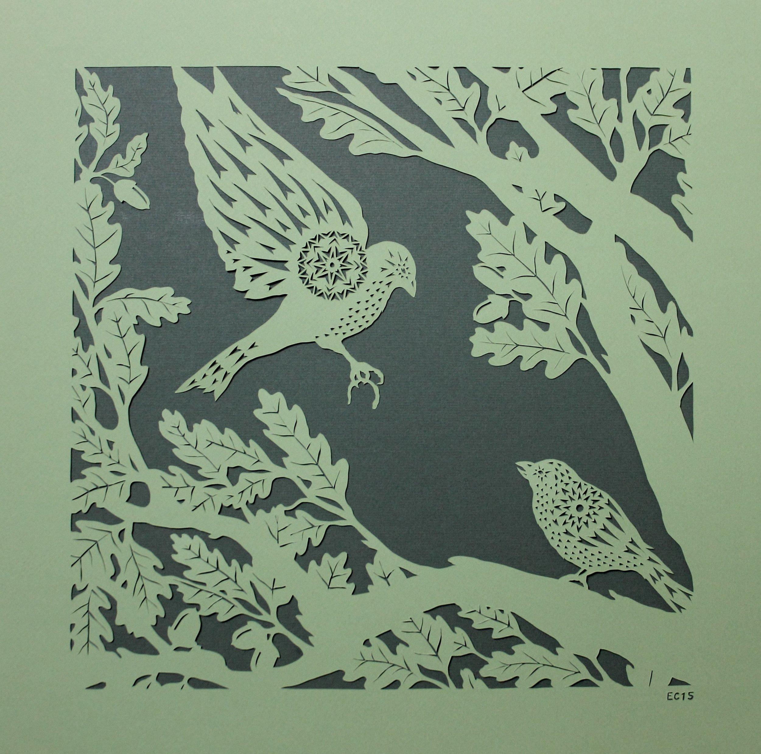Sparrows in Oak Tree.JPG