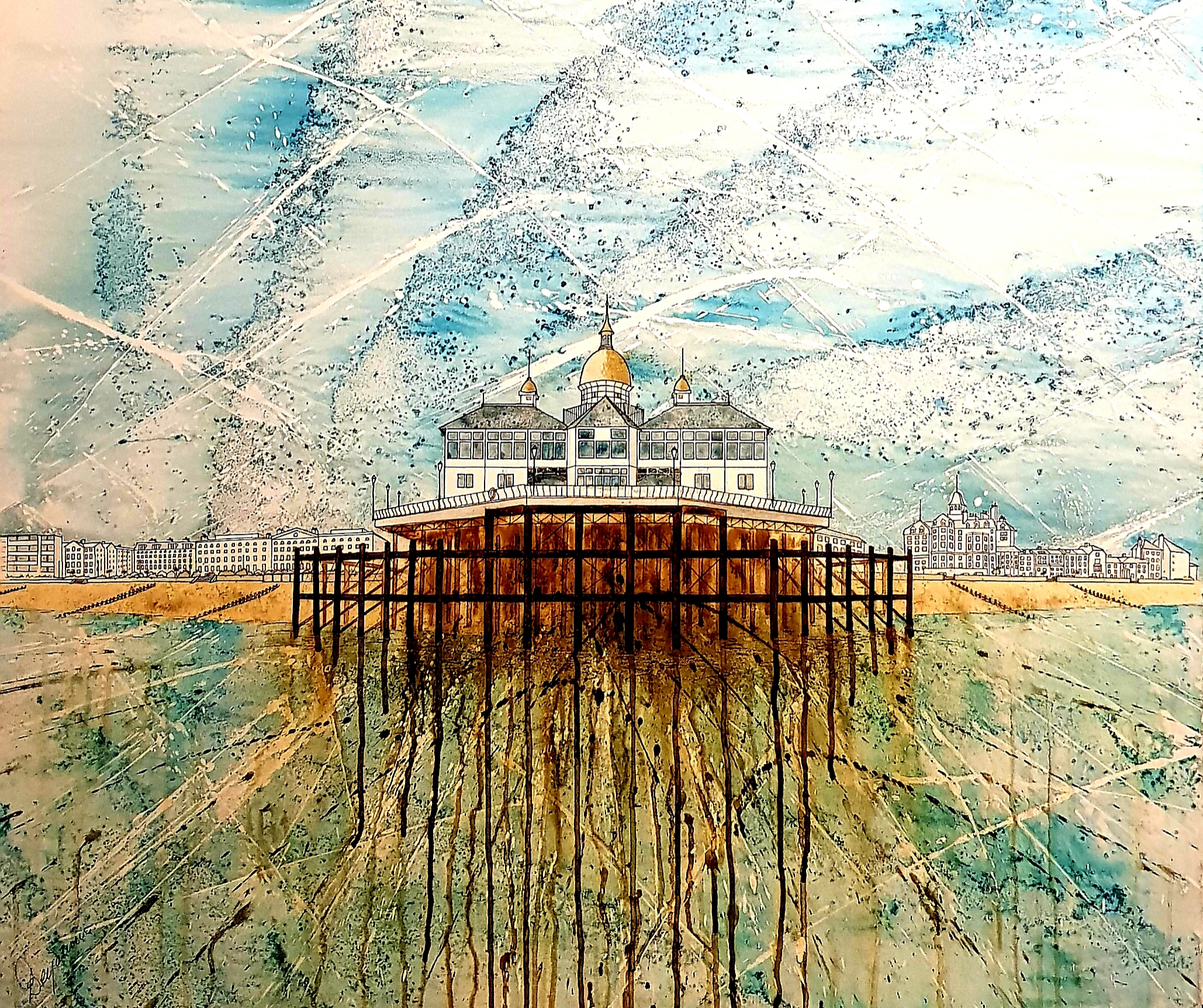 Eastbourne Pier from my Paddleboard 100 x 100cm pen and ink