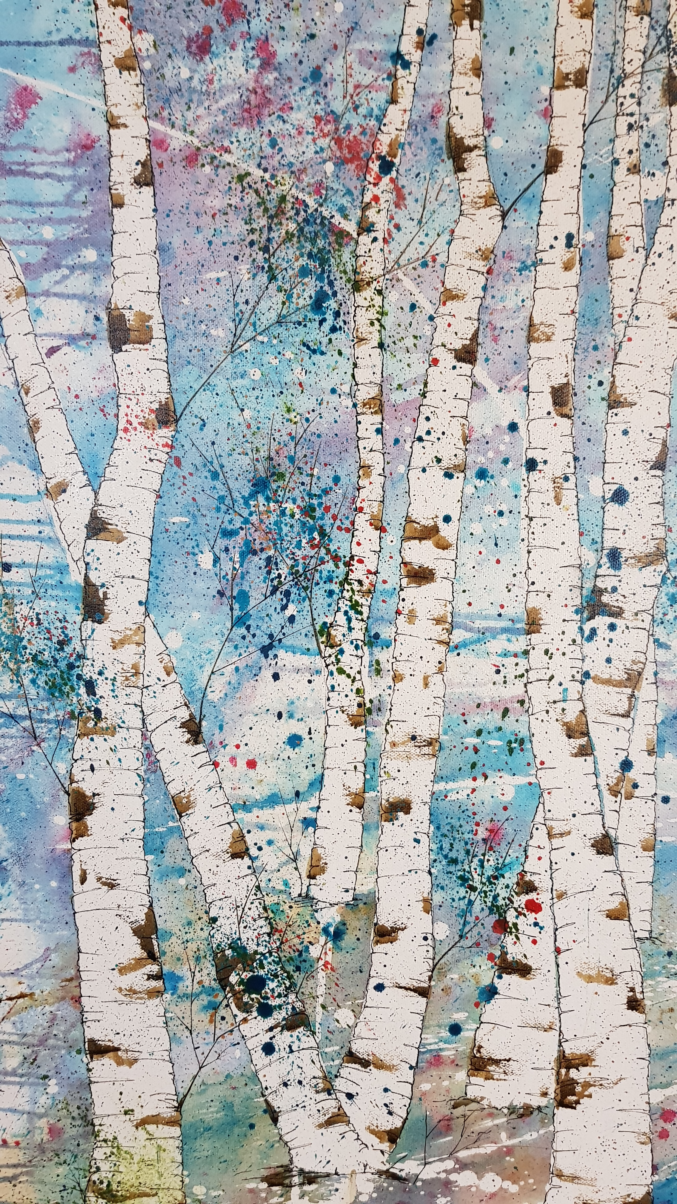 Detail of Silver Birches 100 x 150cm pen and ink