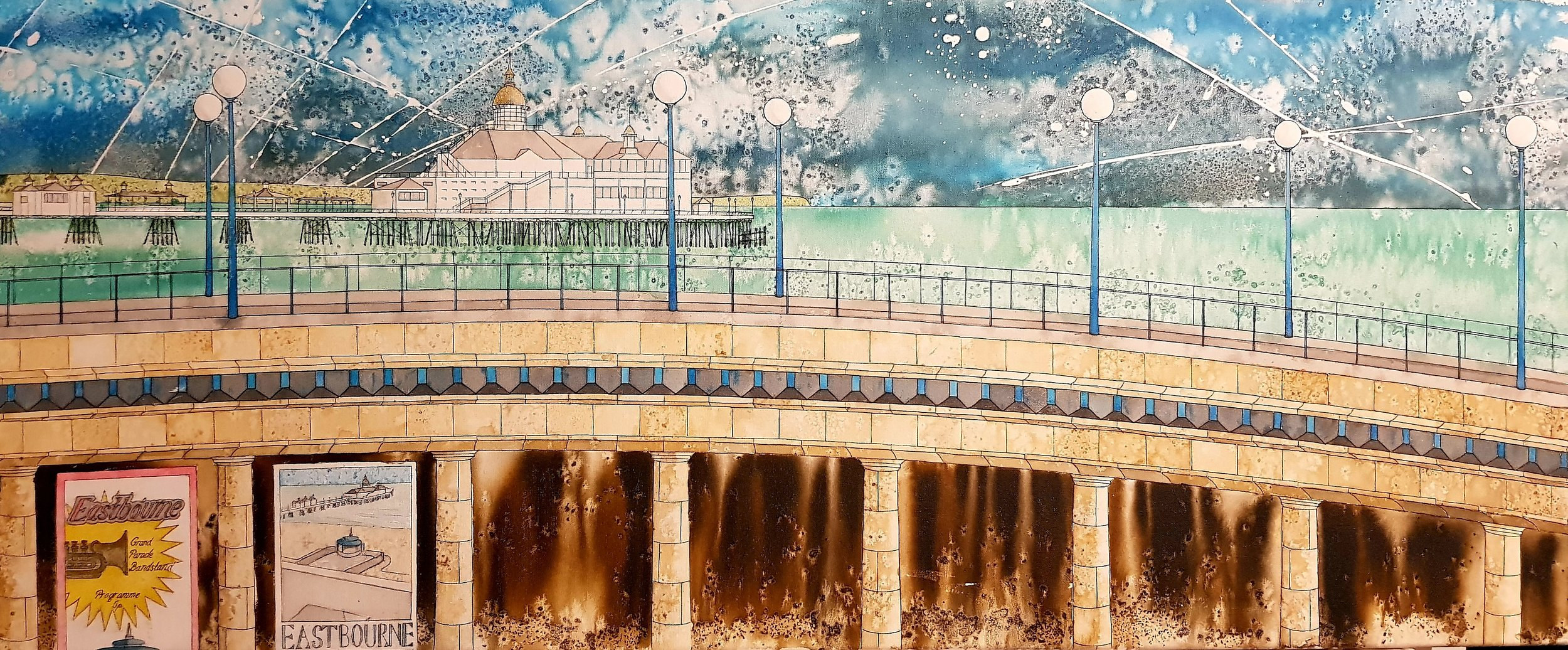 Eastbourne Pier over the Bandstand 120 x 50cm pen and ink