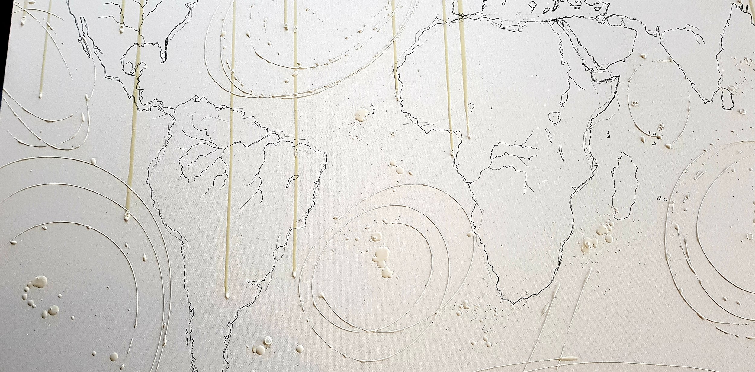 Here I have represented the major ocean currents in masking fluid. The ocean currents are the planets conveyor belt and are crucial to our climate. Healthy oceans pump rich organism rich waters around the globe like a living organism.
