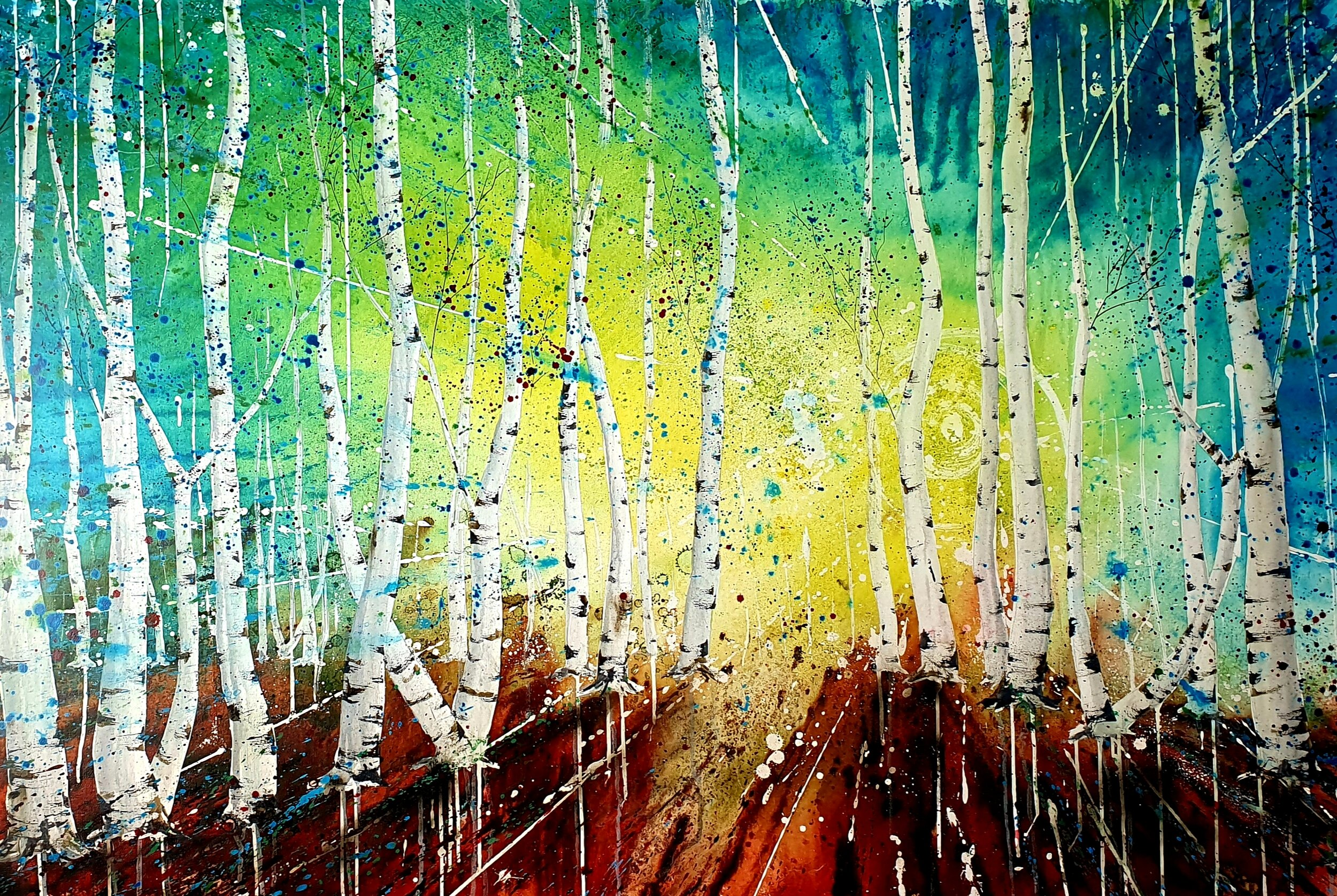 Silver Birches Sunburst 100 x 150cm Acrylic ink on stretched canvas