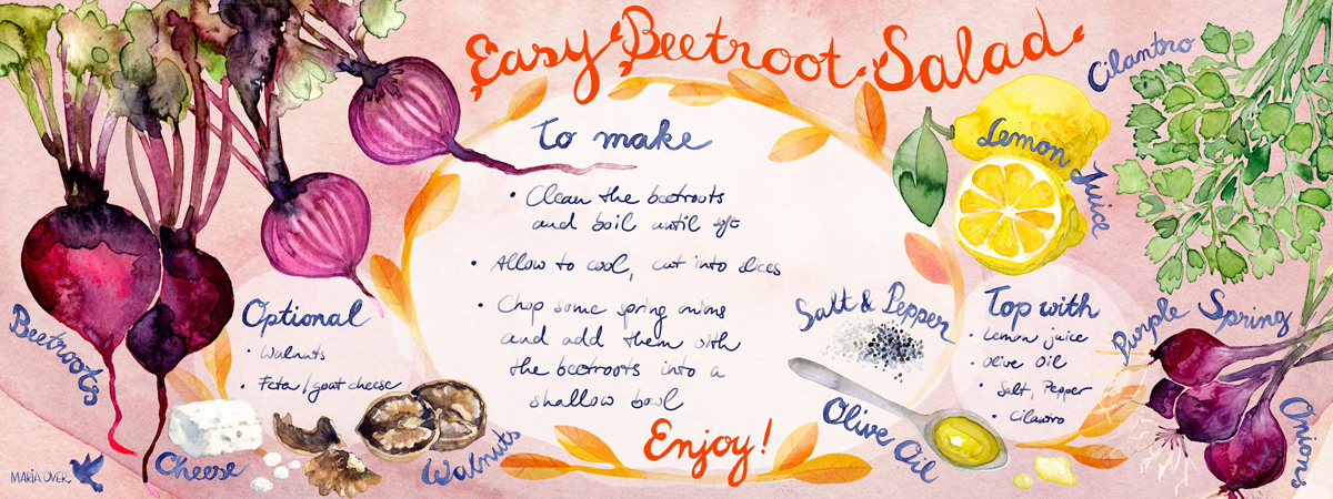 "Easy beetroot salad for ""They draw and cook"""