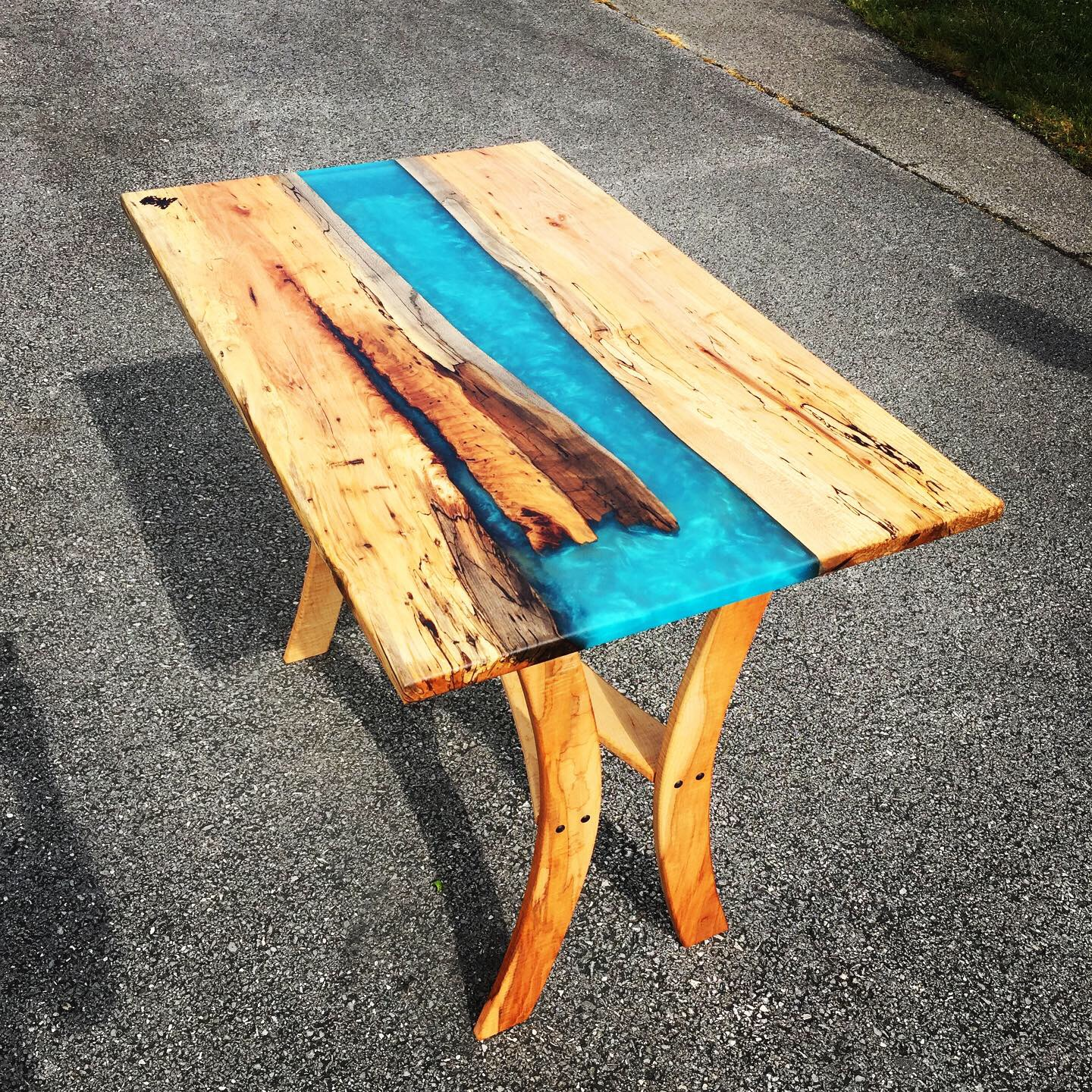 Maple reclaim. - Great little loft style table. Decayed and spalted maple top using epoxy to stabilize with high figured curly maple base.Truly, one of a kind.