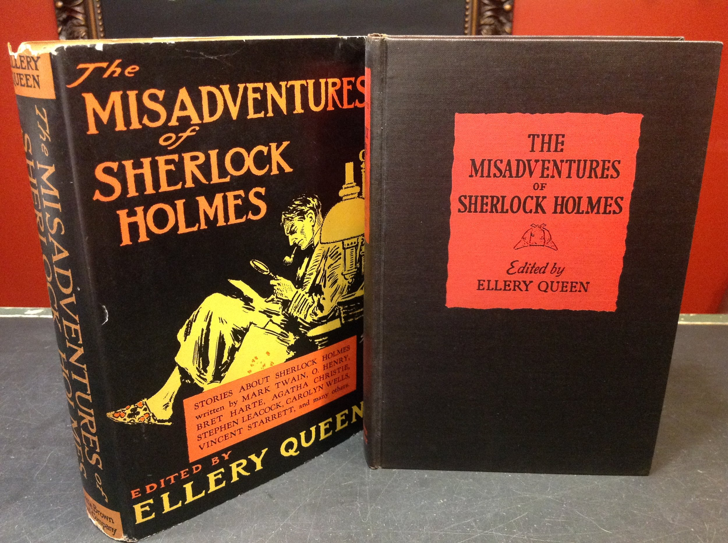 The Misadventures of Sherlock Holmes, edited by Ellery Queen - 1944 First Edition, Little, Brown & Co., Signed twice as
